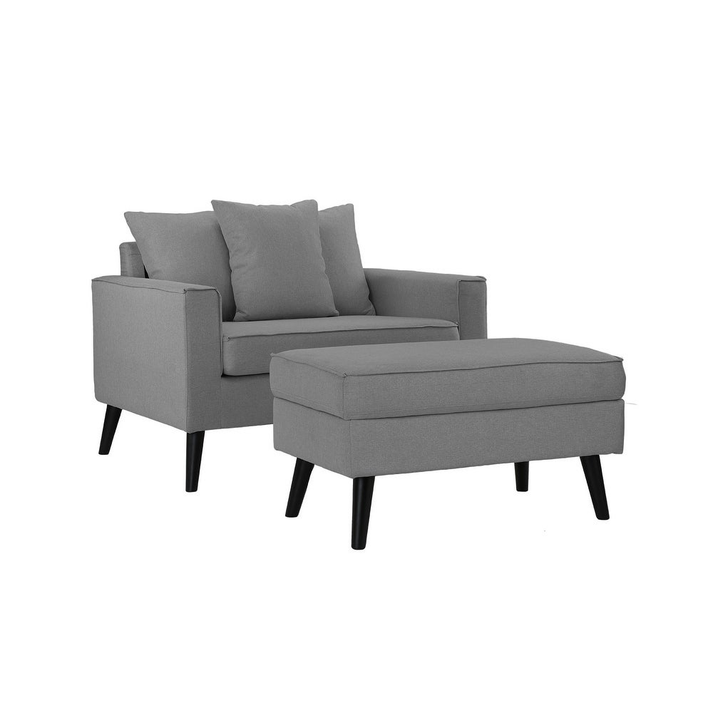 Mid-Century Living Room Large Accent Chair Storage Footrest - Free ...