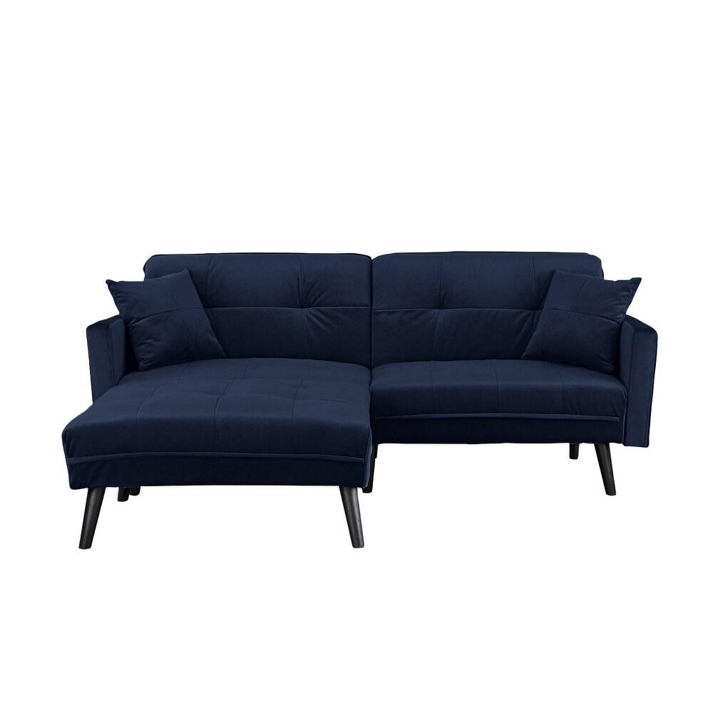 Modern Mid Century Futon Sofa Bed In Brush Microfiber