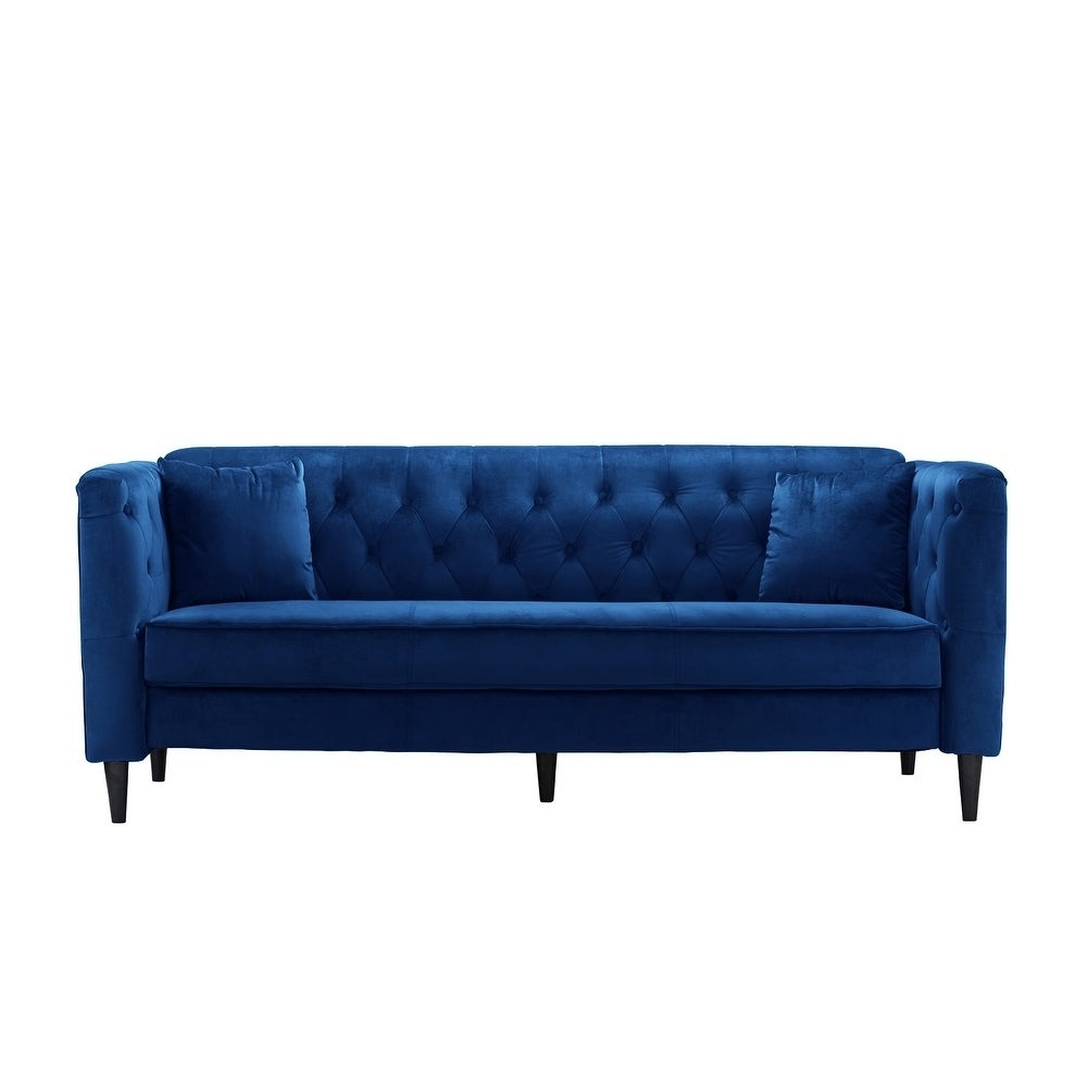 Shop Mid Century Tufted Velvet Sofa With Button Detail Couch   Free  Shipping Today   Overstock.com   18092754