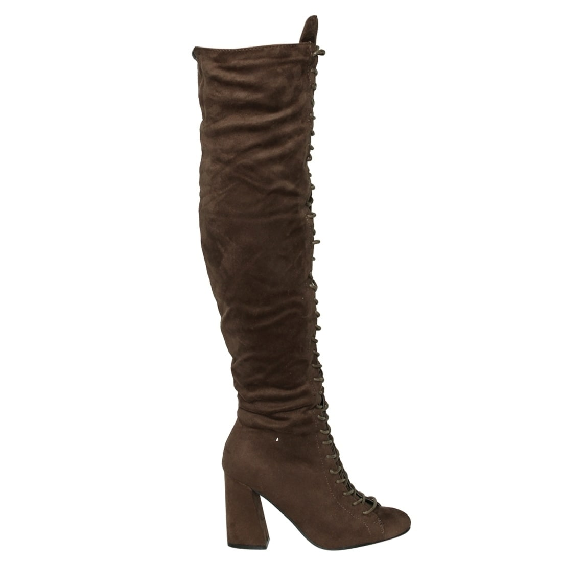 Beston EJ60 Women's Over The Knee High Combat Boots Half Size Small - Free  Shipping On Orders Over $45 - Overstock.com - 24252095