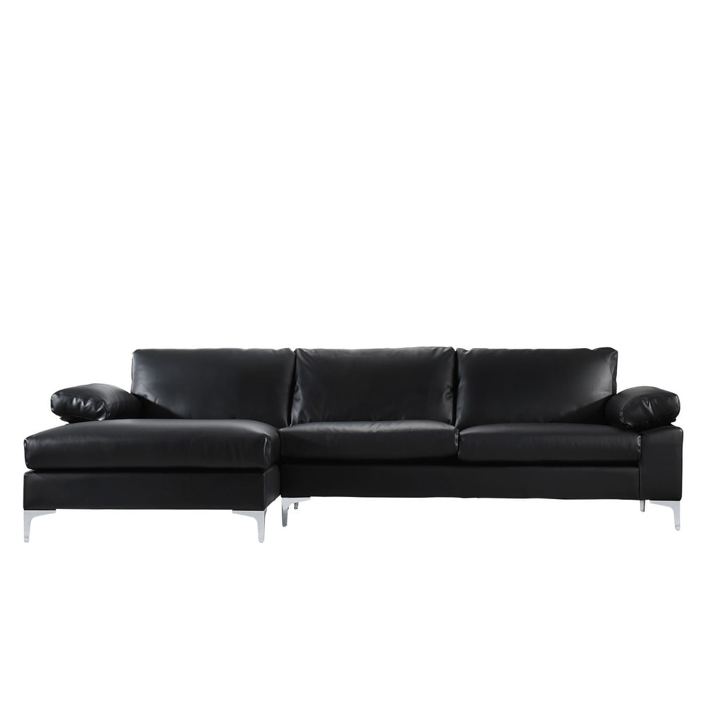Shop Modern Large Faux Leather Sectional Sofa Extra Wide Chaise