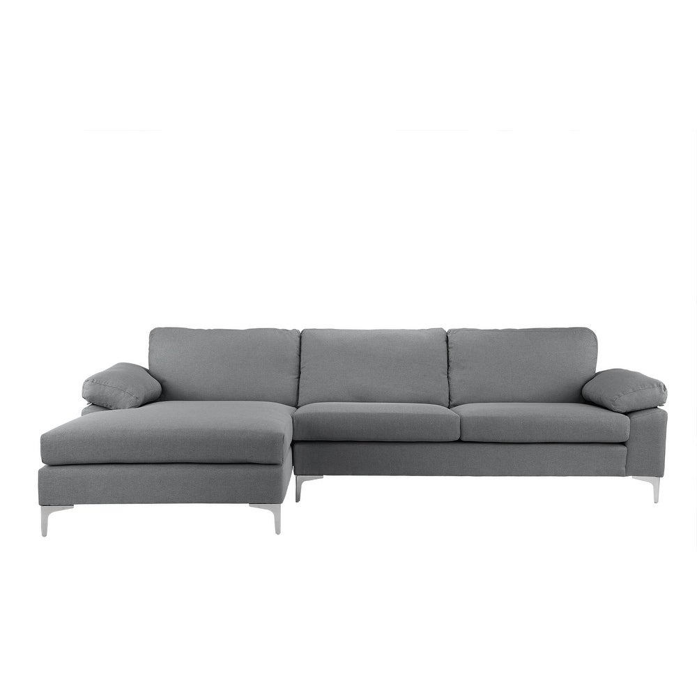 Modern Large Linen Sectional Sofa L Shape Couch Wide Chaise Free Shipping Today 18094107
