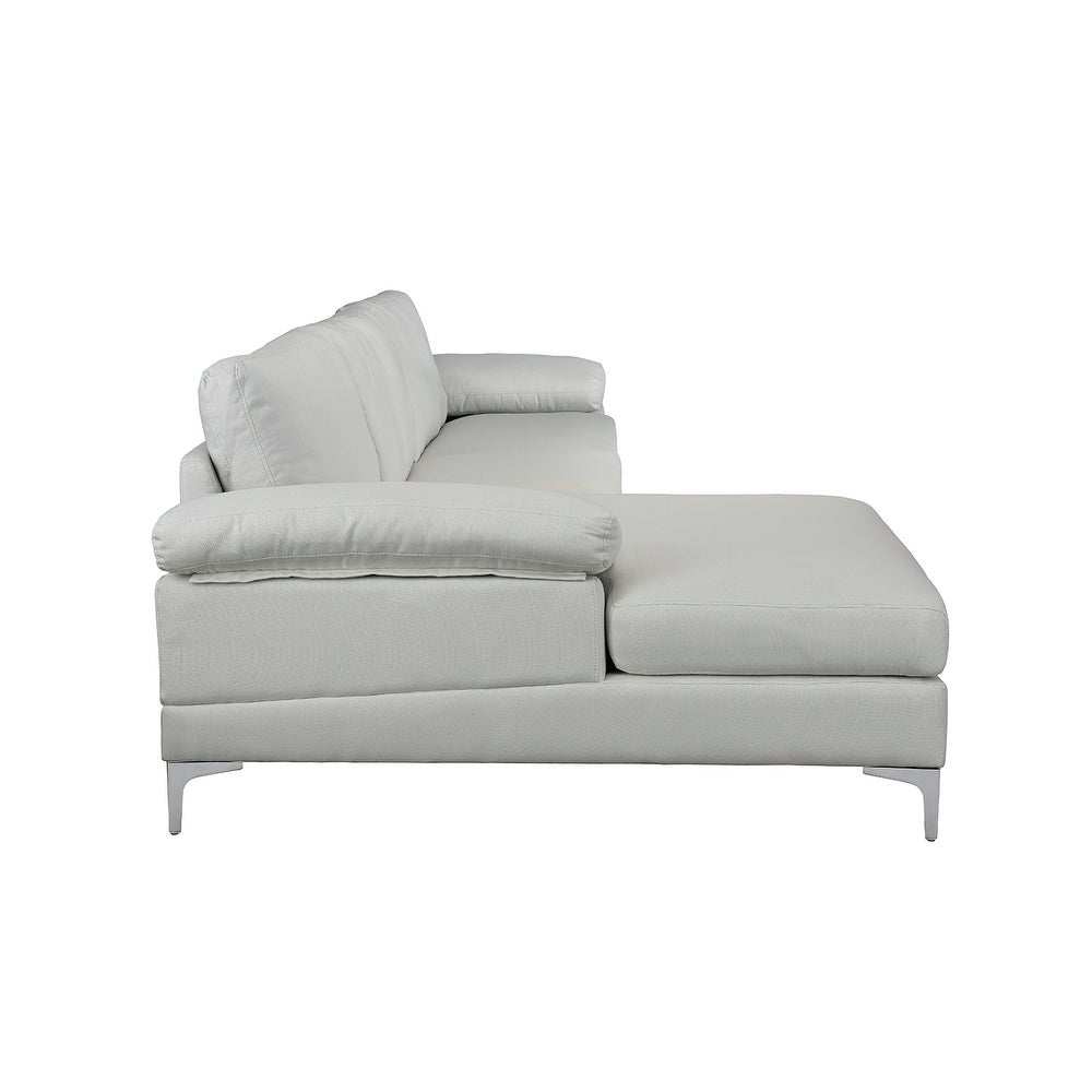 Shop Modern Large Linen Sectional Sofa, L-Shape Couch, Wide Chaise ...
