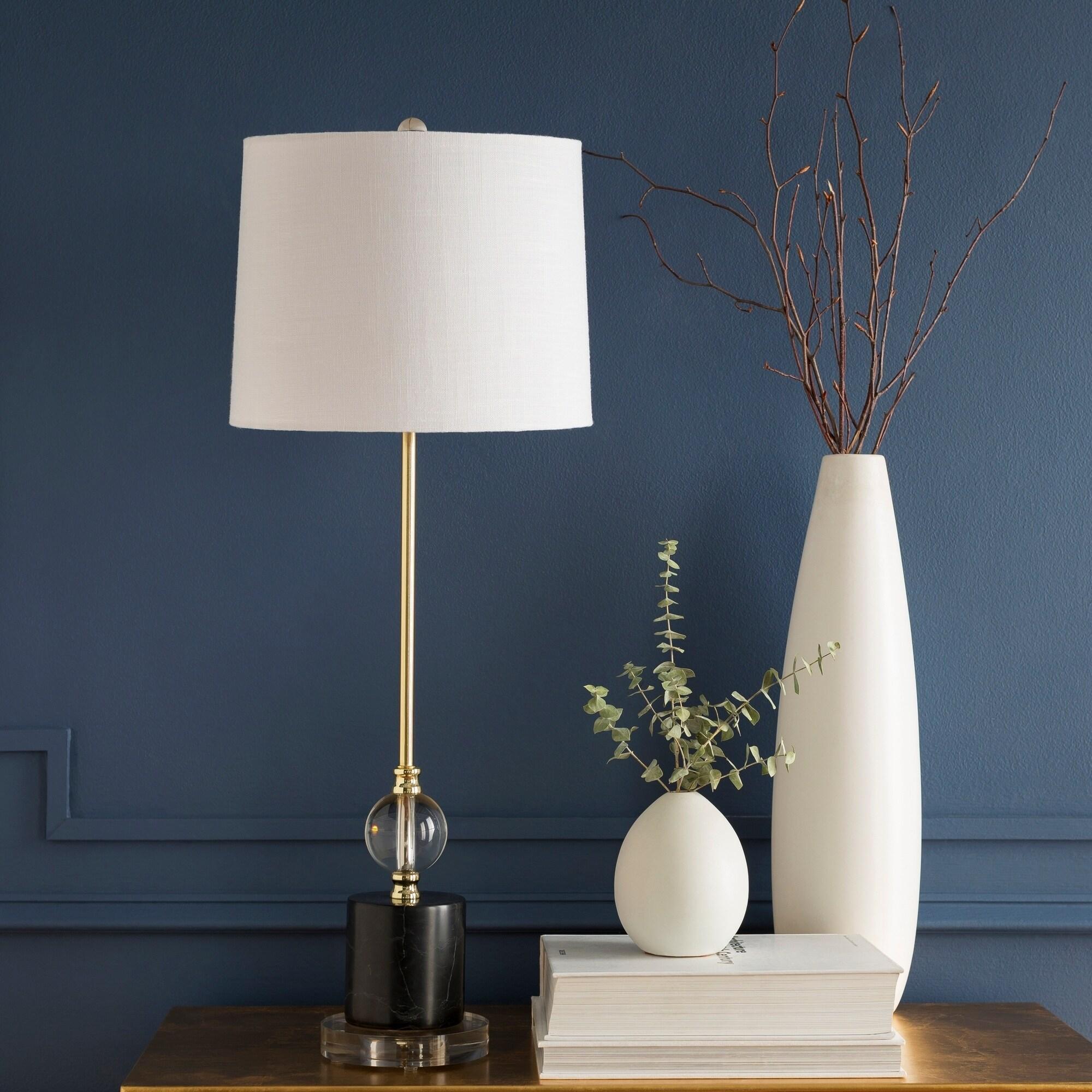Valentin Black Marble U0026 Crystal Buffet Table Lamp