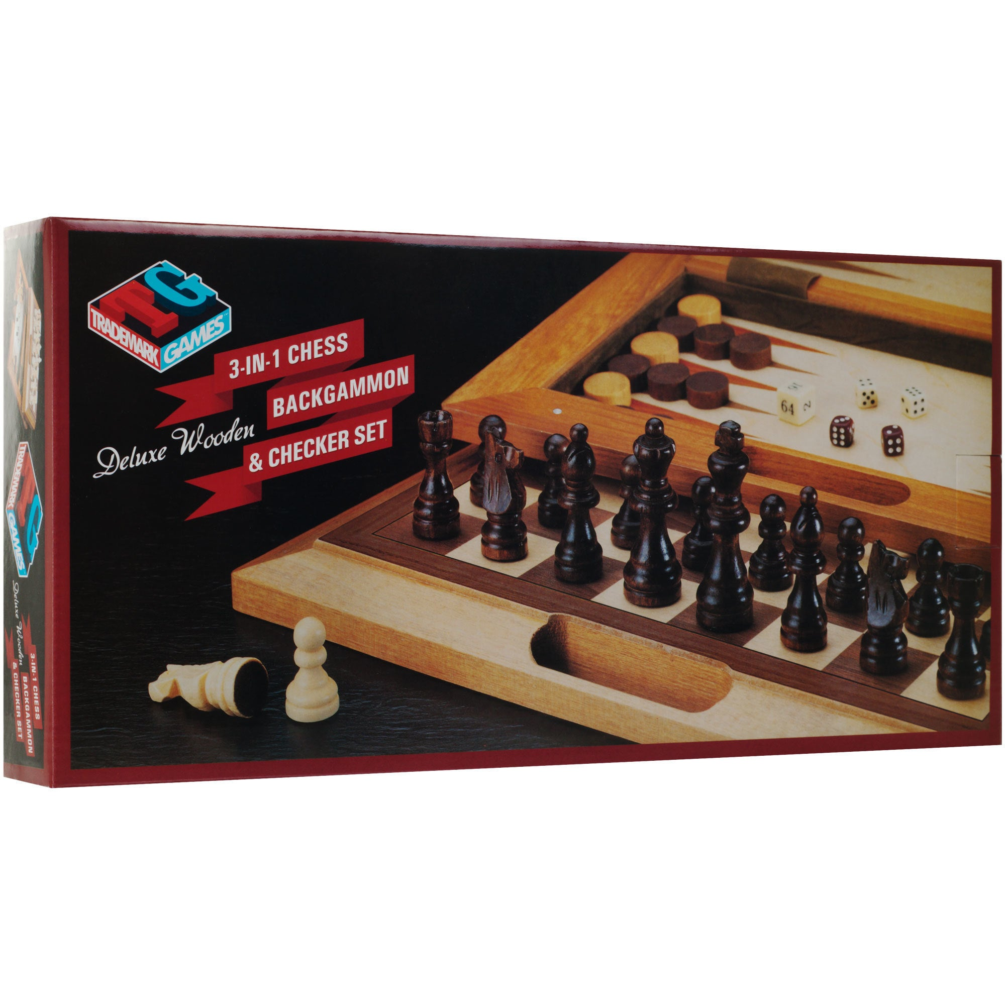 Shop Deluxe Wooden 3 In 1 Chess Backgammon Checker Set Free