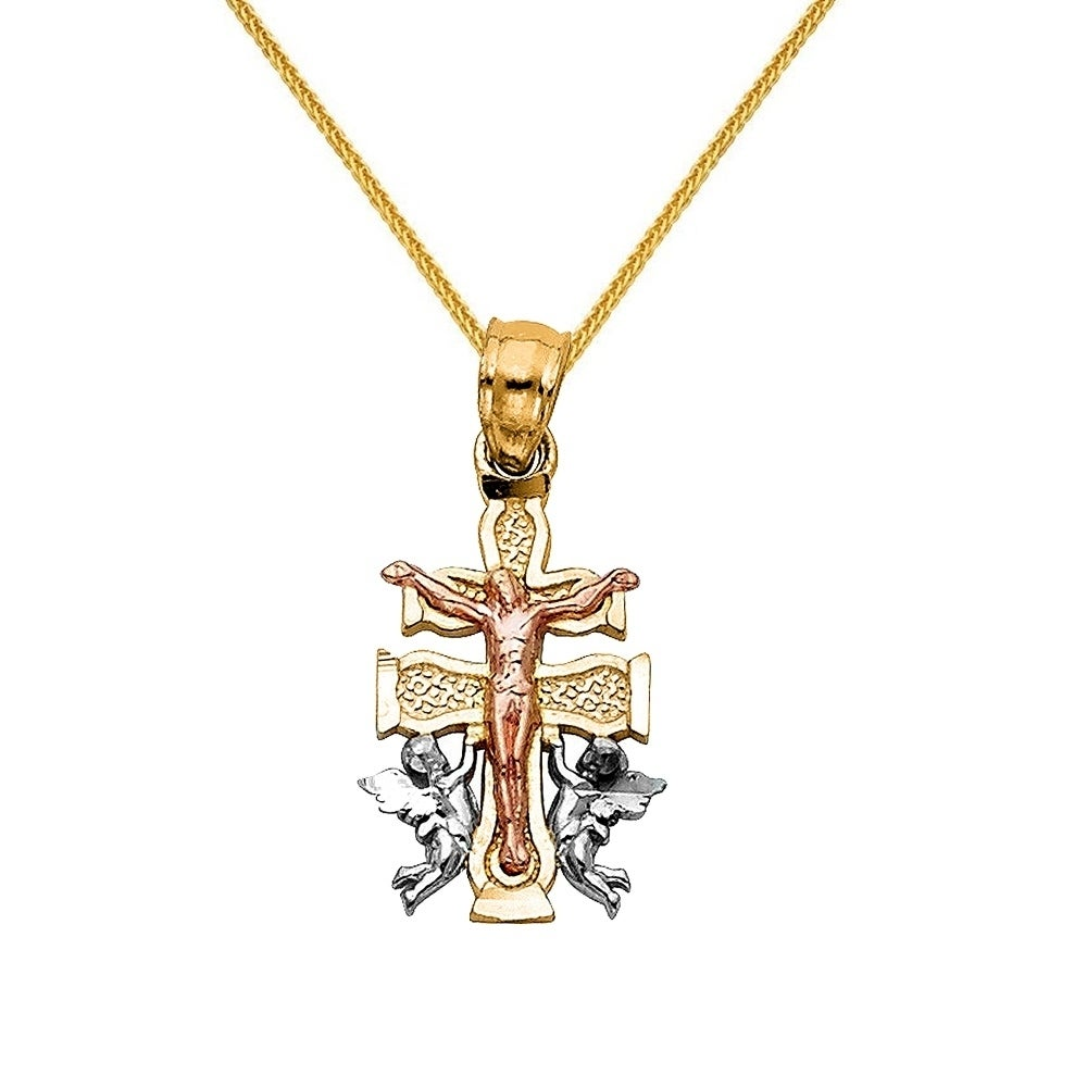 14k tri tone caravaca cross pendant and wheat chain necklace gold 14k tri tone caravaca cross pendant and wheat chain necklace gold free shipping today overstock 24253982 mozeypictures Choice Image