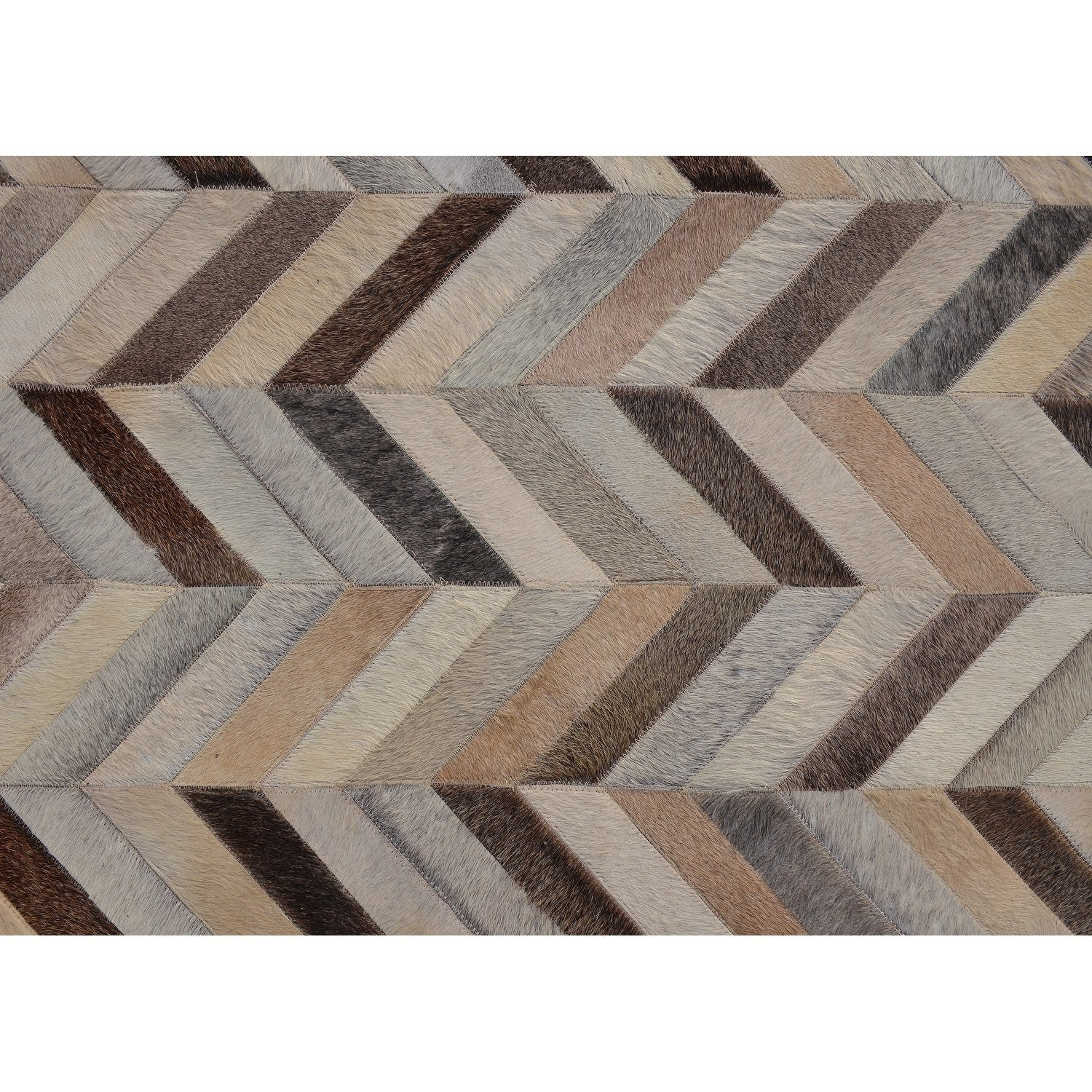 Kavka Designs Grey Cowhide Hand-stitched Patchwork Stripes Rug (8 ...