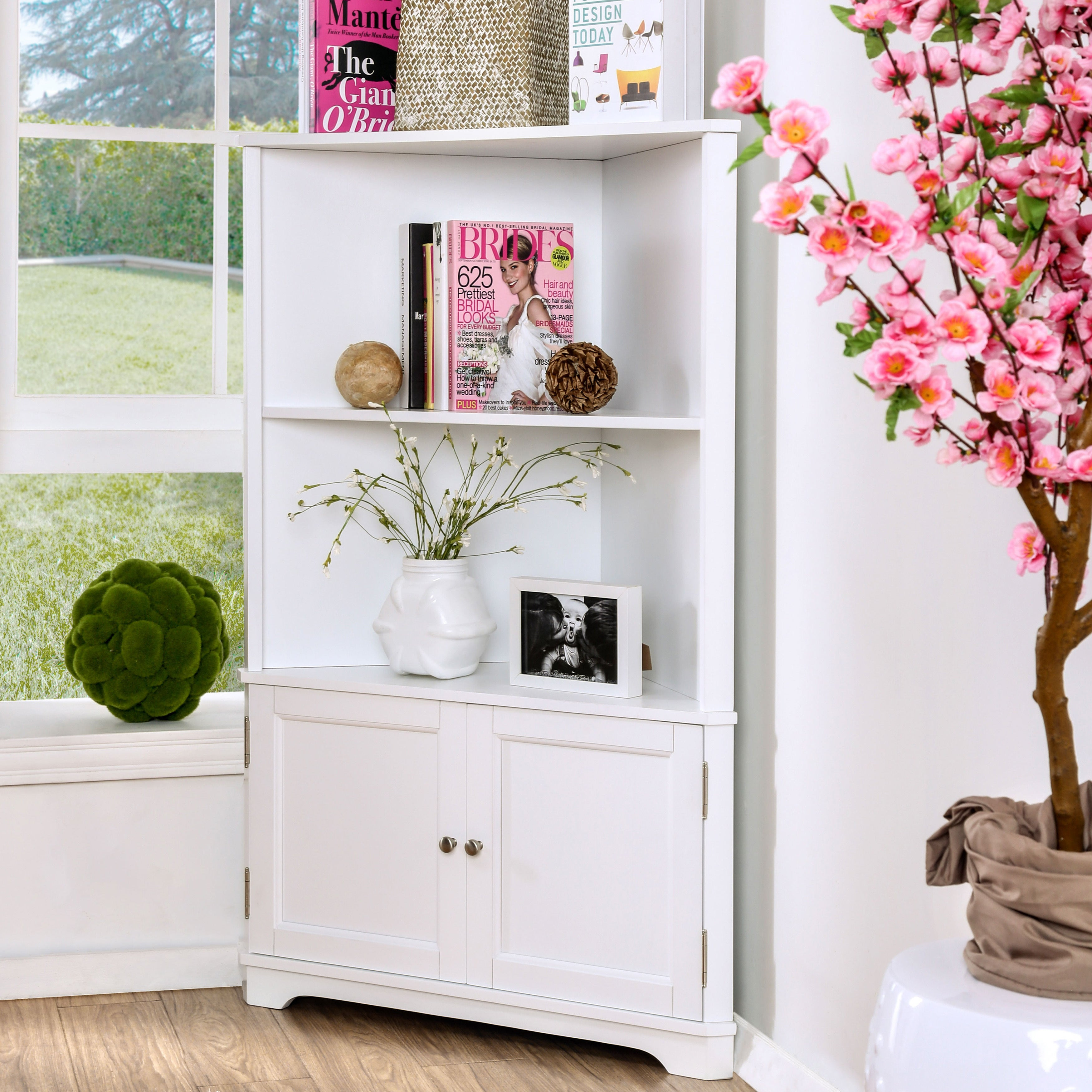 Shop Darrell Contemporary 2 Shelf Corner Bookshelf With Cabinet By
