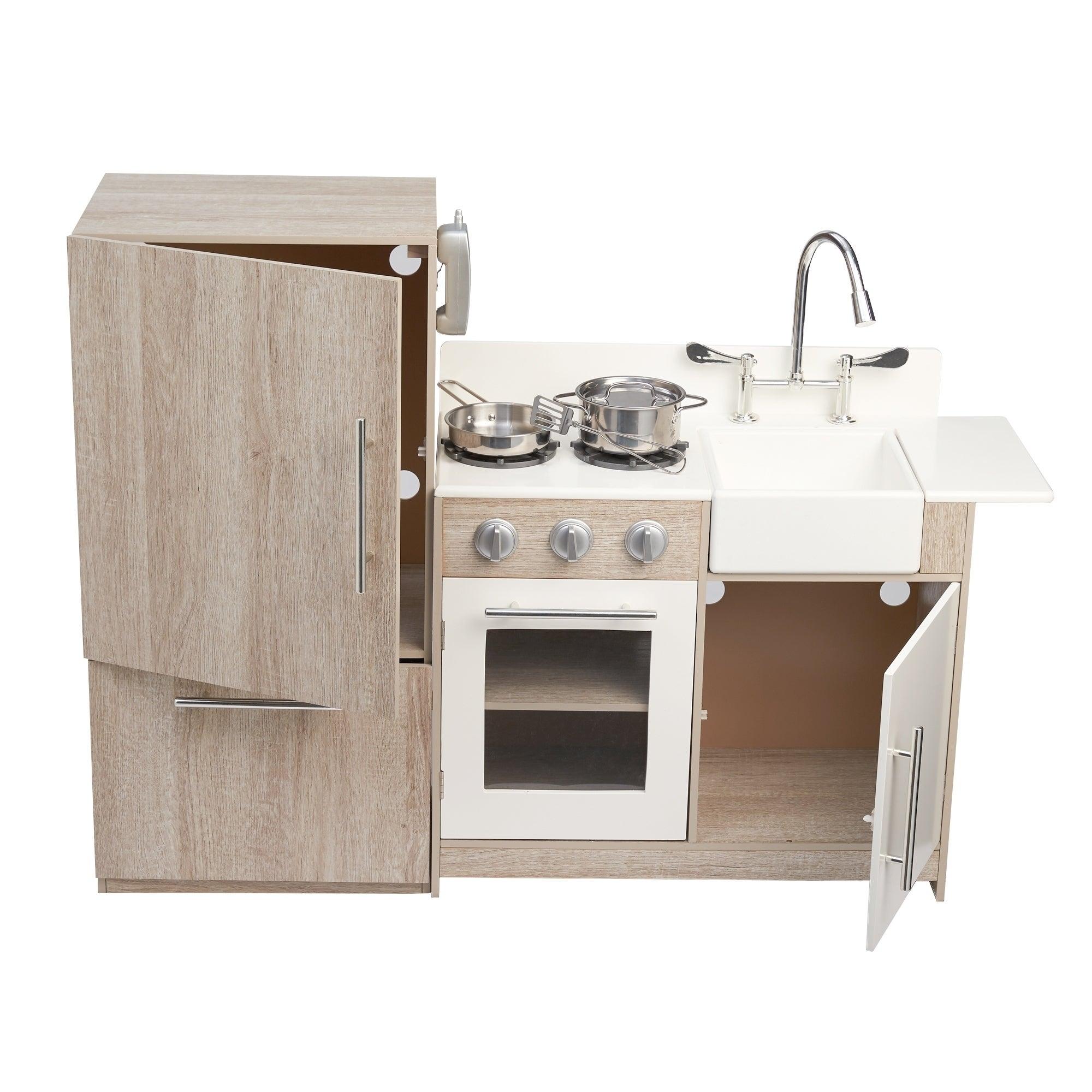 Teamson Kids - Soho Big Play Kitchen - Oak Grain / Silver - Free ...