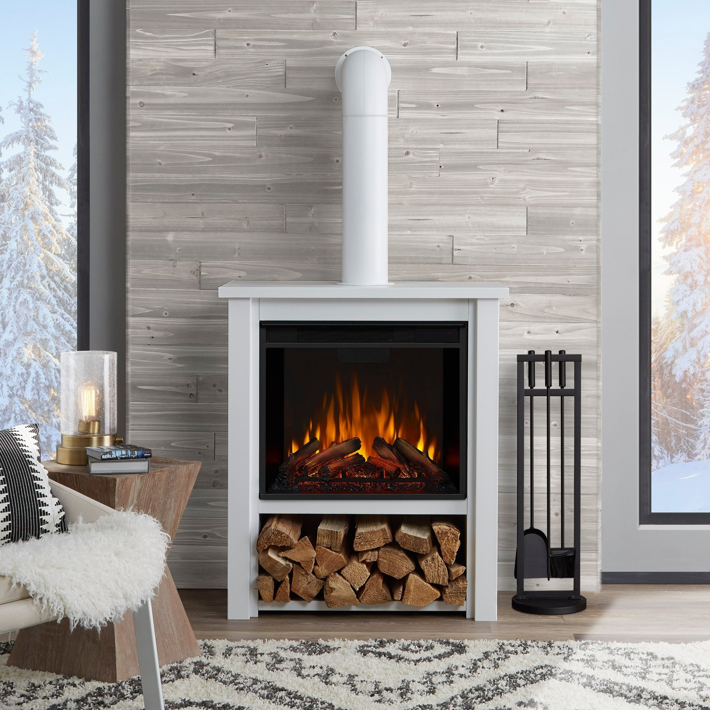 Shop Hollis Electric Fireplace White On Sale Overstock 18104892