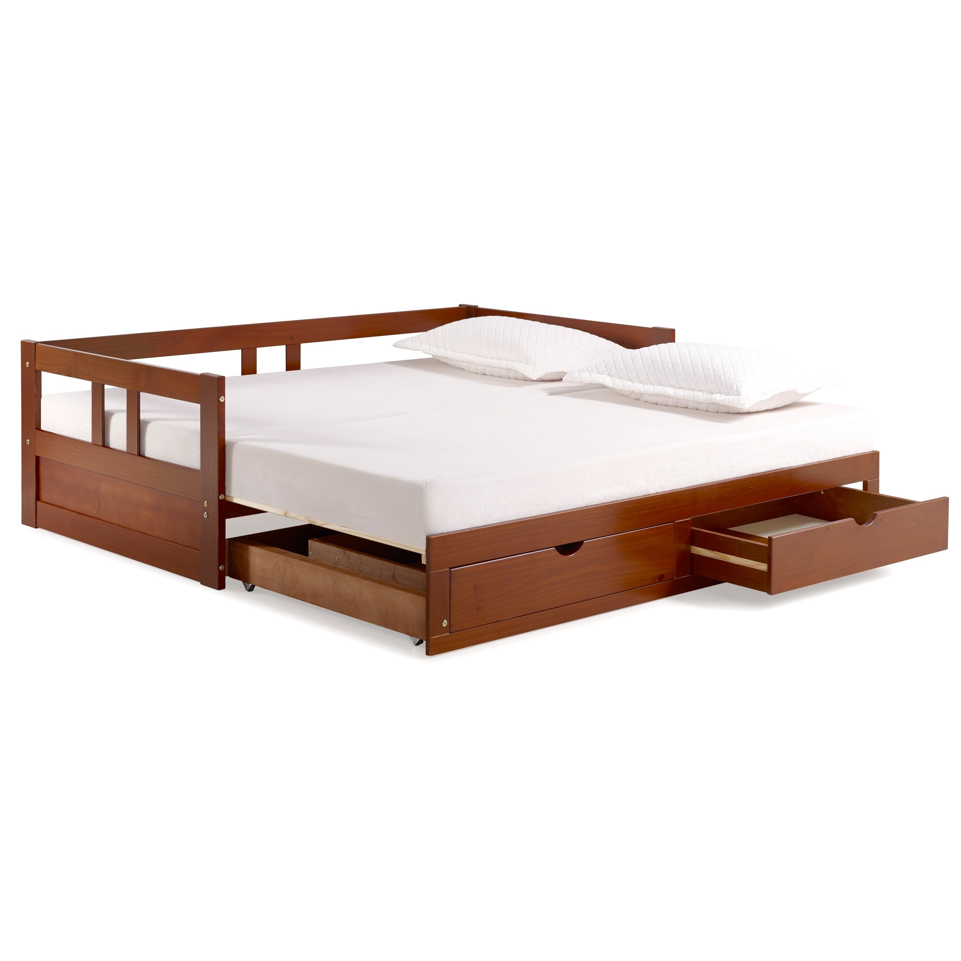 Melody Twin To King Trundle Daybed With Storage Drawers, Chestnut   Free  Shipping Today   Overstock.com   24261919