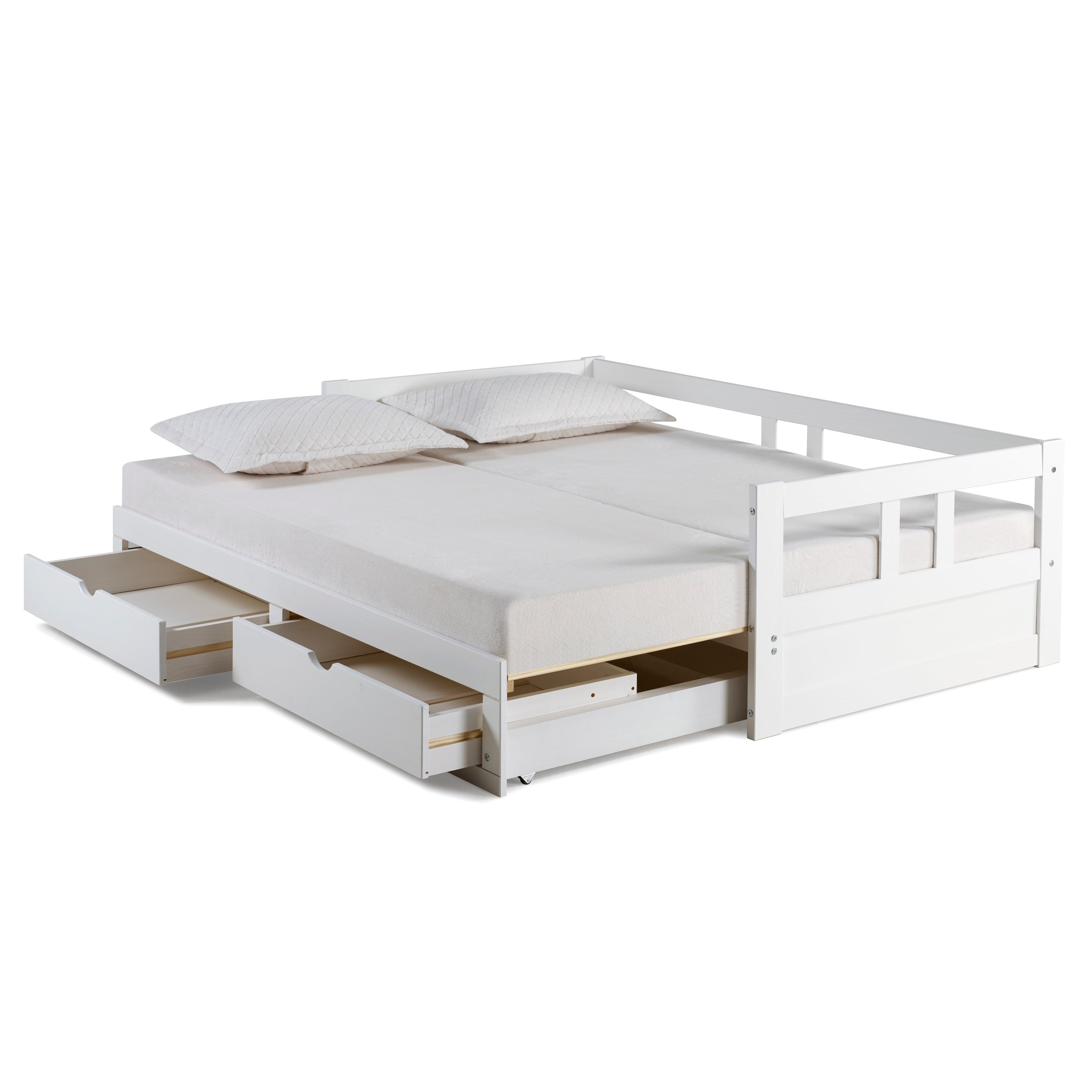 Melody Twin To King Trundle Daybed With Storage Drawers White Free Shipping Today 18105350