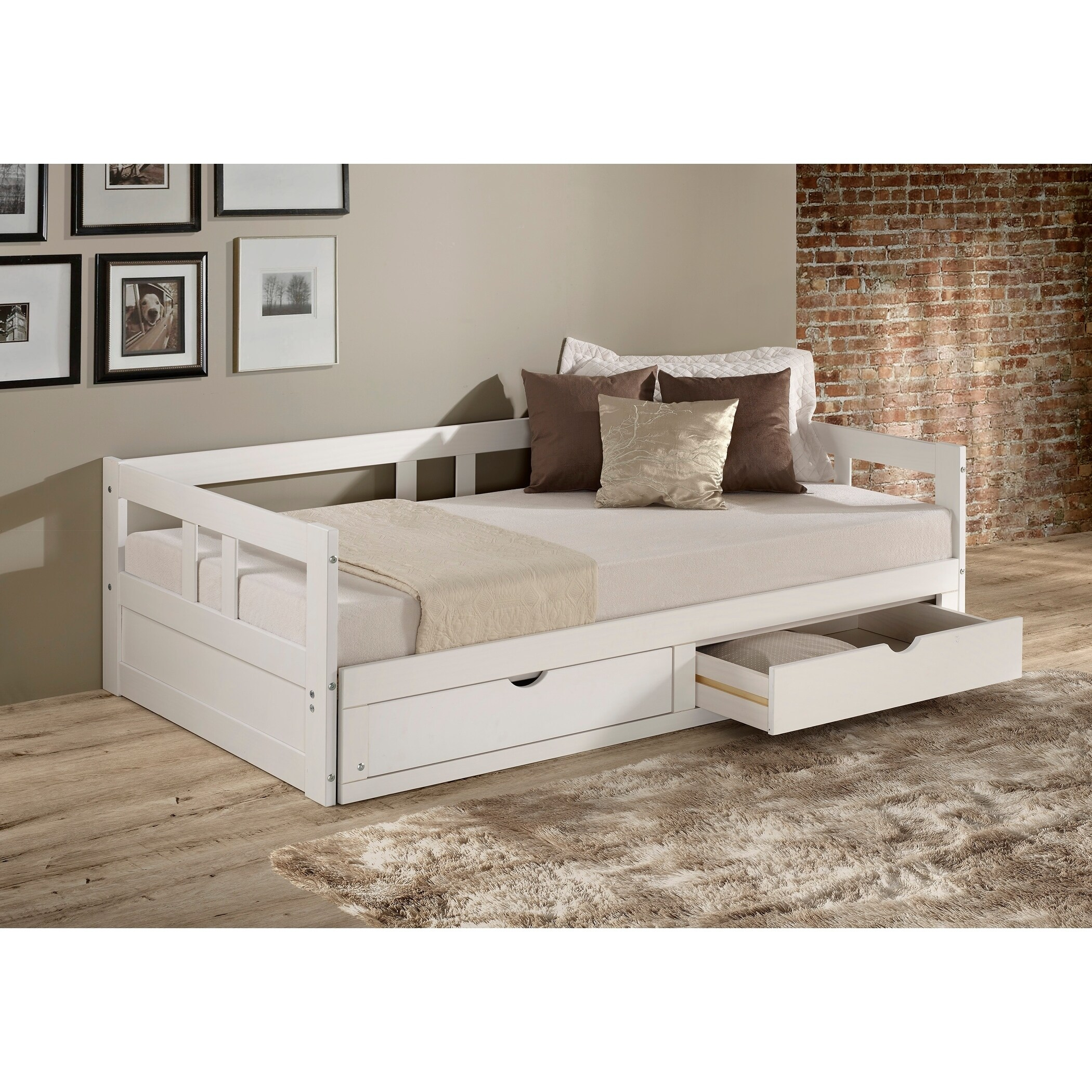 Melody Twin To King Trundle Daybed With Storage Drawers, White