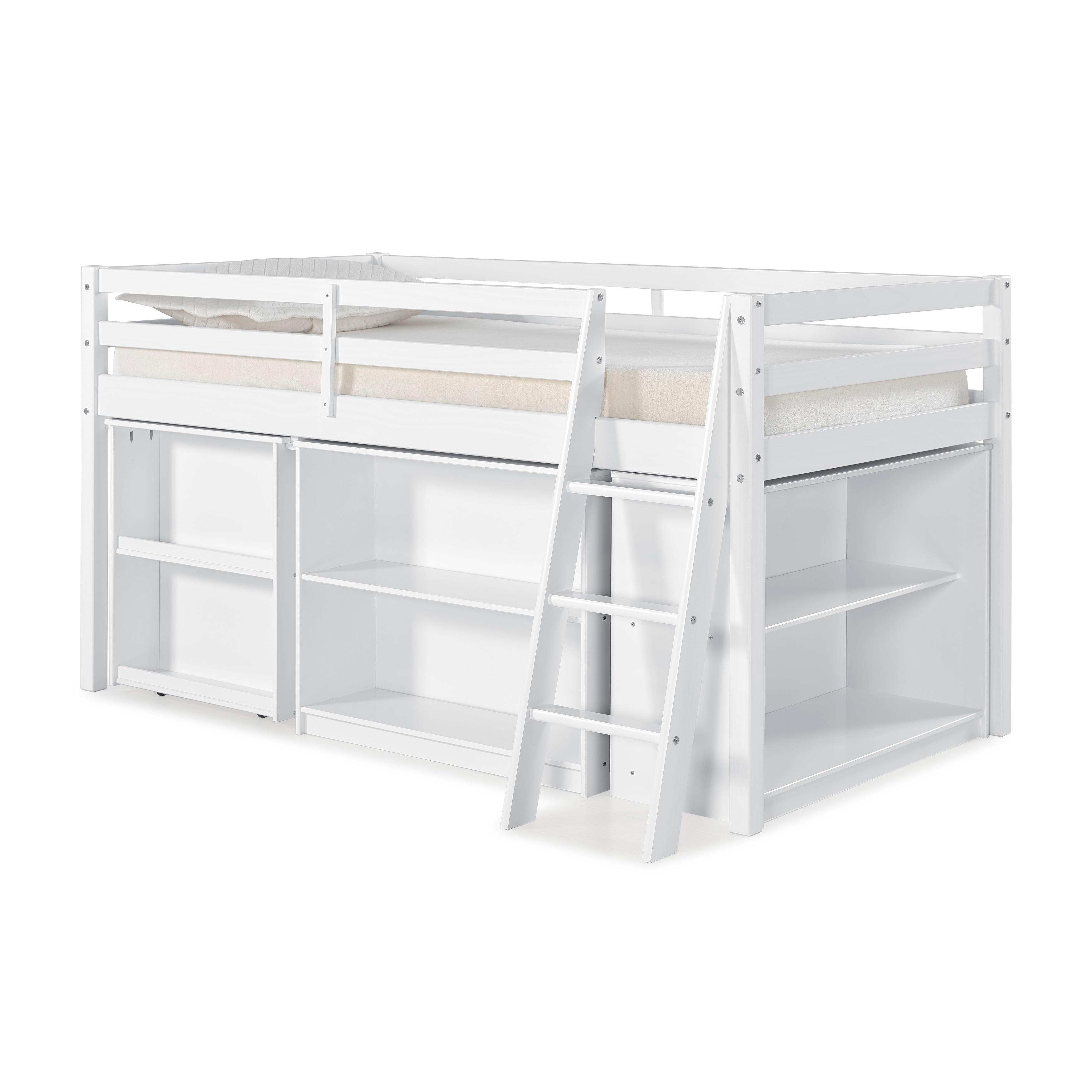 Roxy Junior Loft Bed with Storage Drawers Bookshelf and Desk White