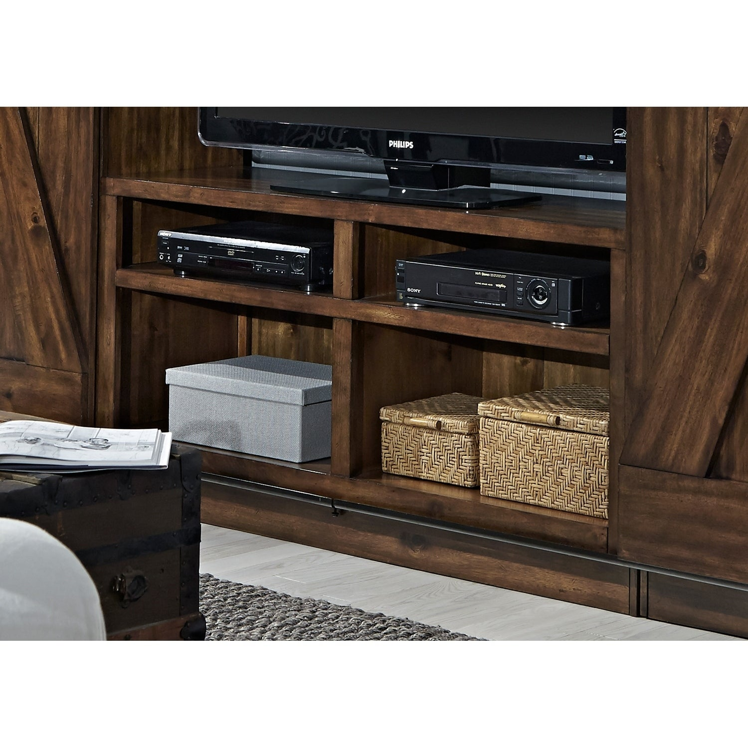 Shop Lancaster Iii Rustic Tobacco 55 Inch Tv Stand Free Shipping