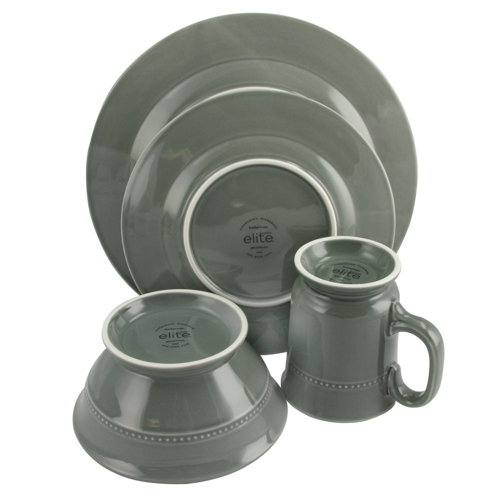 Gibson Barberware 16 Piece Dinnerware Set in Grey - Free Shipping Today - Overstock - 24263842  sc 1 st  Overstock.com & Gibson Barberware 16 Piece Dinnerware Set in Grey - Free Shipping ...
