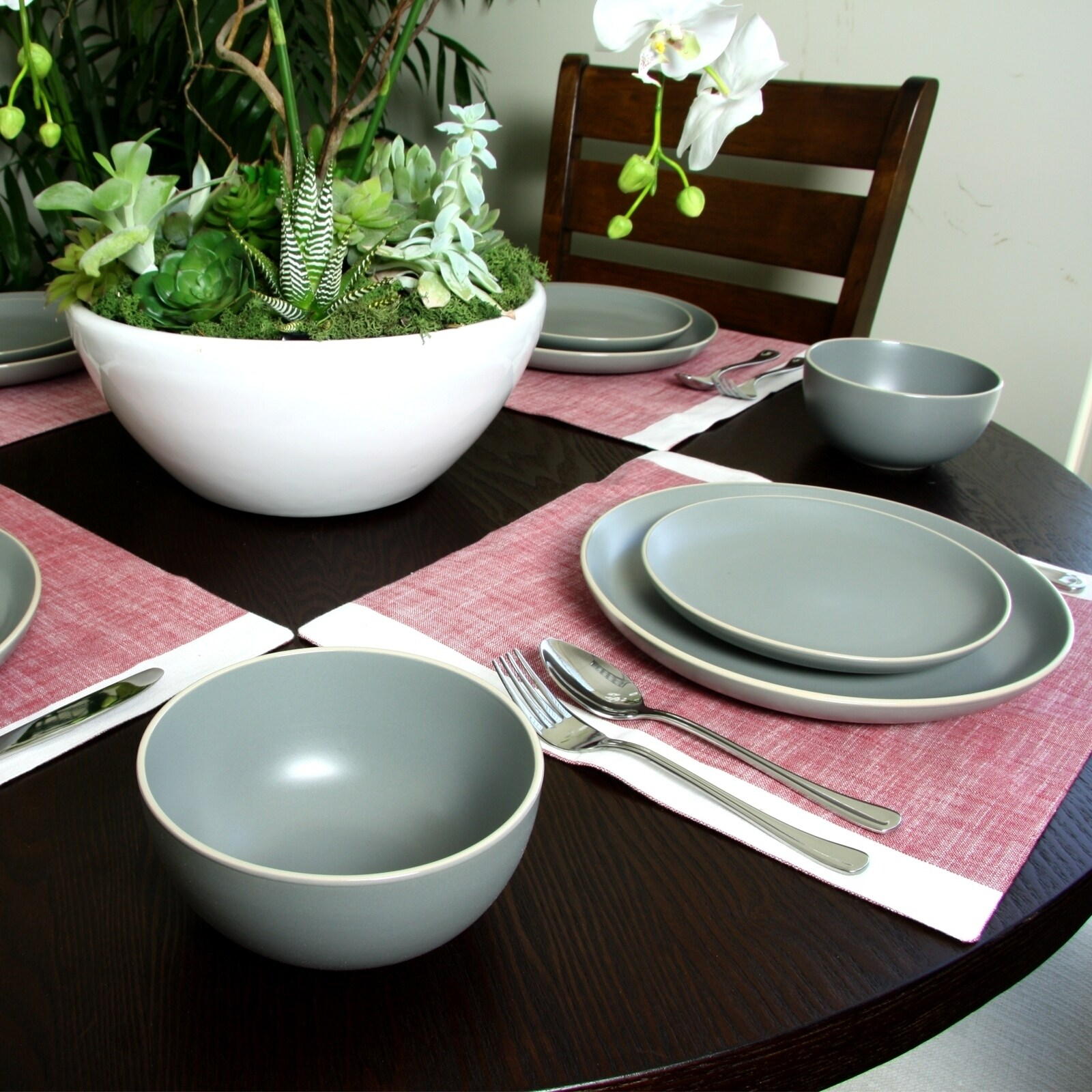 Gibson Home Rockaway 12-Piece Dinnerware Set in Grey - Free Shipping Today - Overstock - 24263885 & Gibson Home Rockaway 12-Piece Dinnerware Set in Grey - Free Shipping ...
