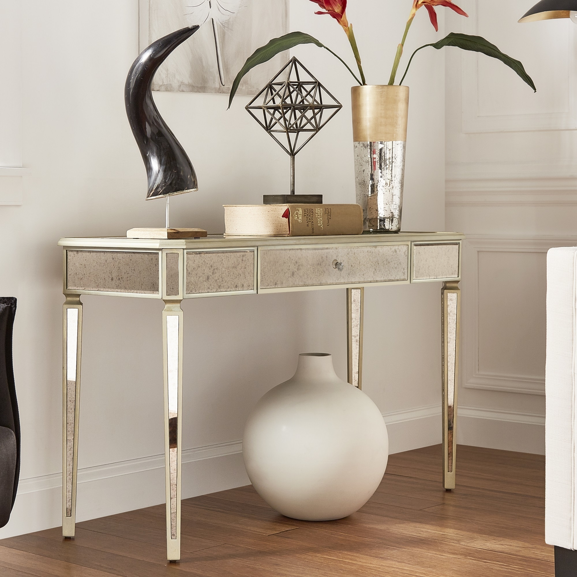 Clara Antique Gold Mirrored Sofa Table By Inspire Q Bold On Free Shipping Today 18107770