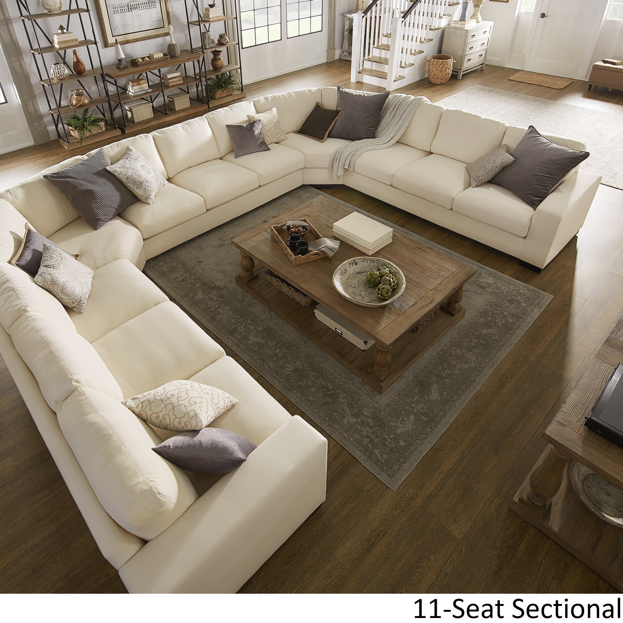 Lionel white cotton fabric down filled u shaped sectional by inspire q artisan