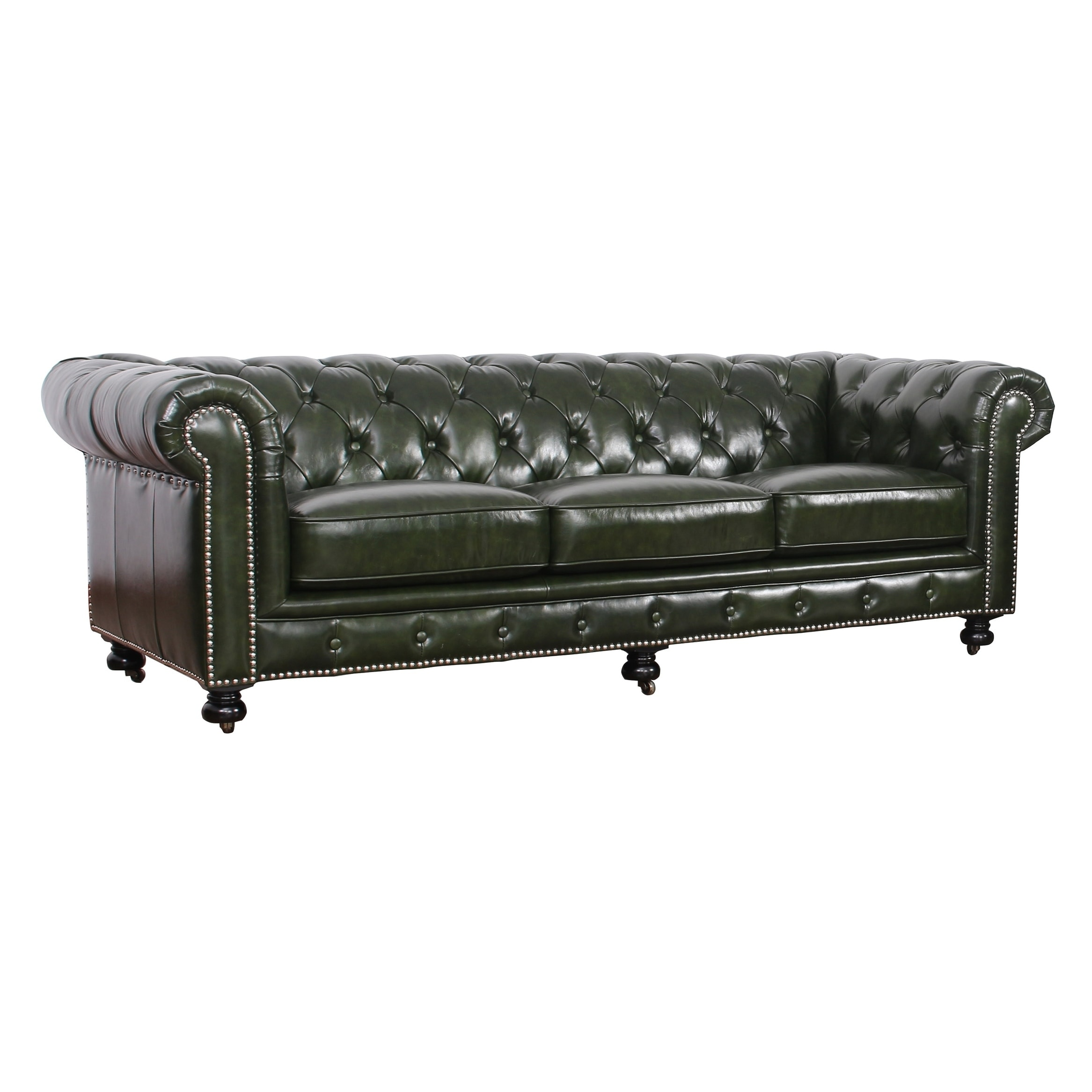 Abbyson Virginia Green Waxed Leather Chesterfield Sofa On Free Shipping Today 18107892