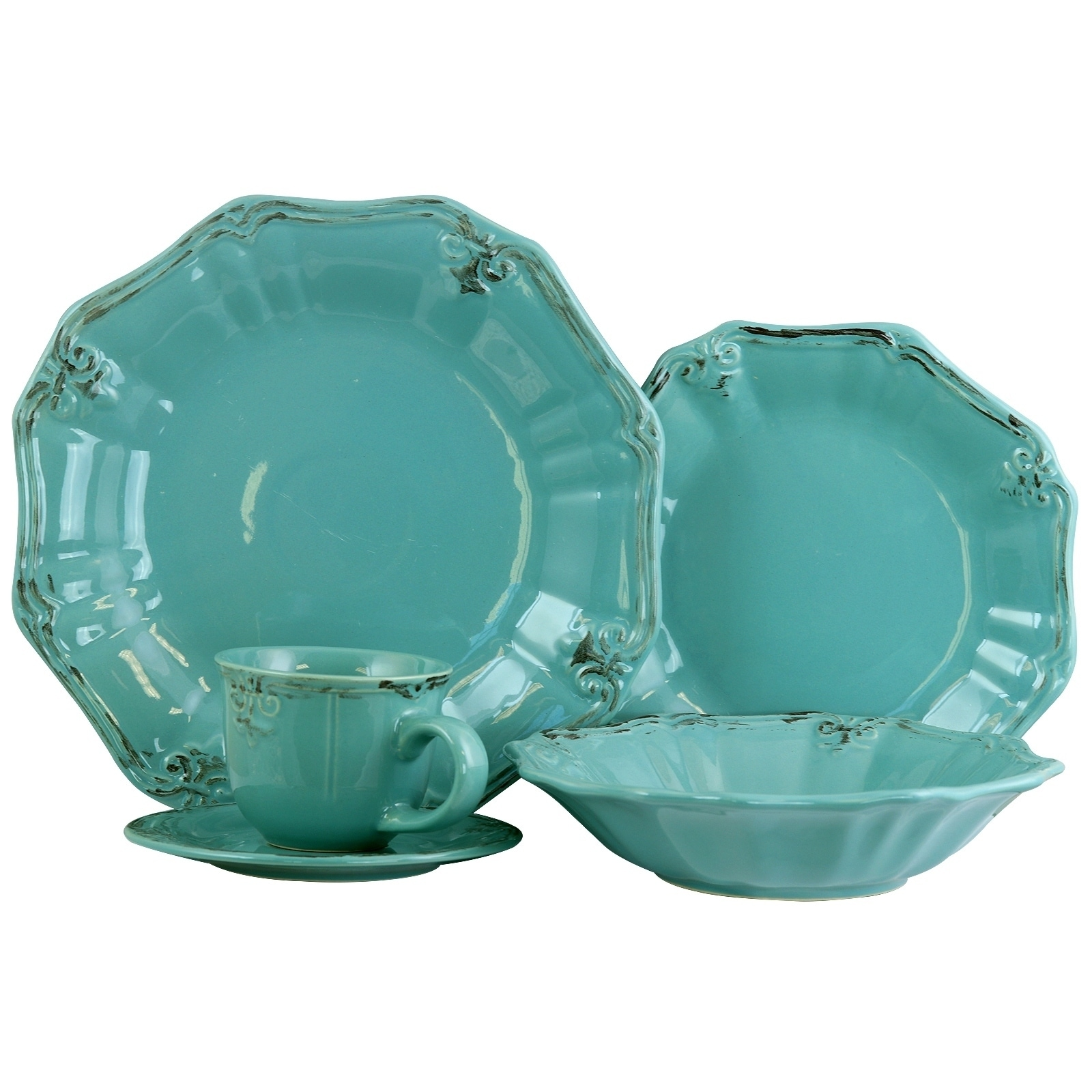 Elama Fleur De Lys 20 Piece Dinnerware Set in Turquoise - Free Shipping Today - Overstock - 24264179  sc 1 st  Overstock & Elama Fleur De Lys 20 Piece Dinnerware Set in Turquoise - Free ...