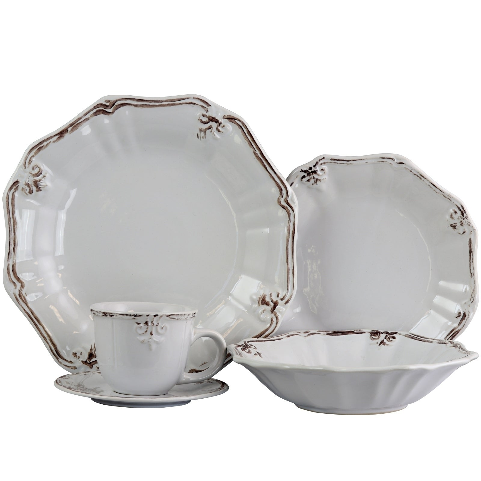 Elama Fleur De Lys 20 Piece Dinnerware Set in White - Free Shipping Today - Overstock.com - 24264178  sc 1 st  Overstock.com & Elama Fleur De Lys 20 Piece Dinnerware Set in White - Free Shipping ...