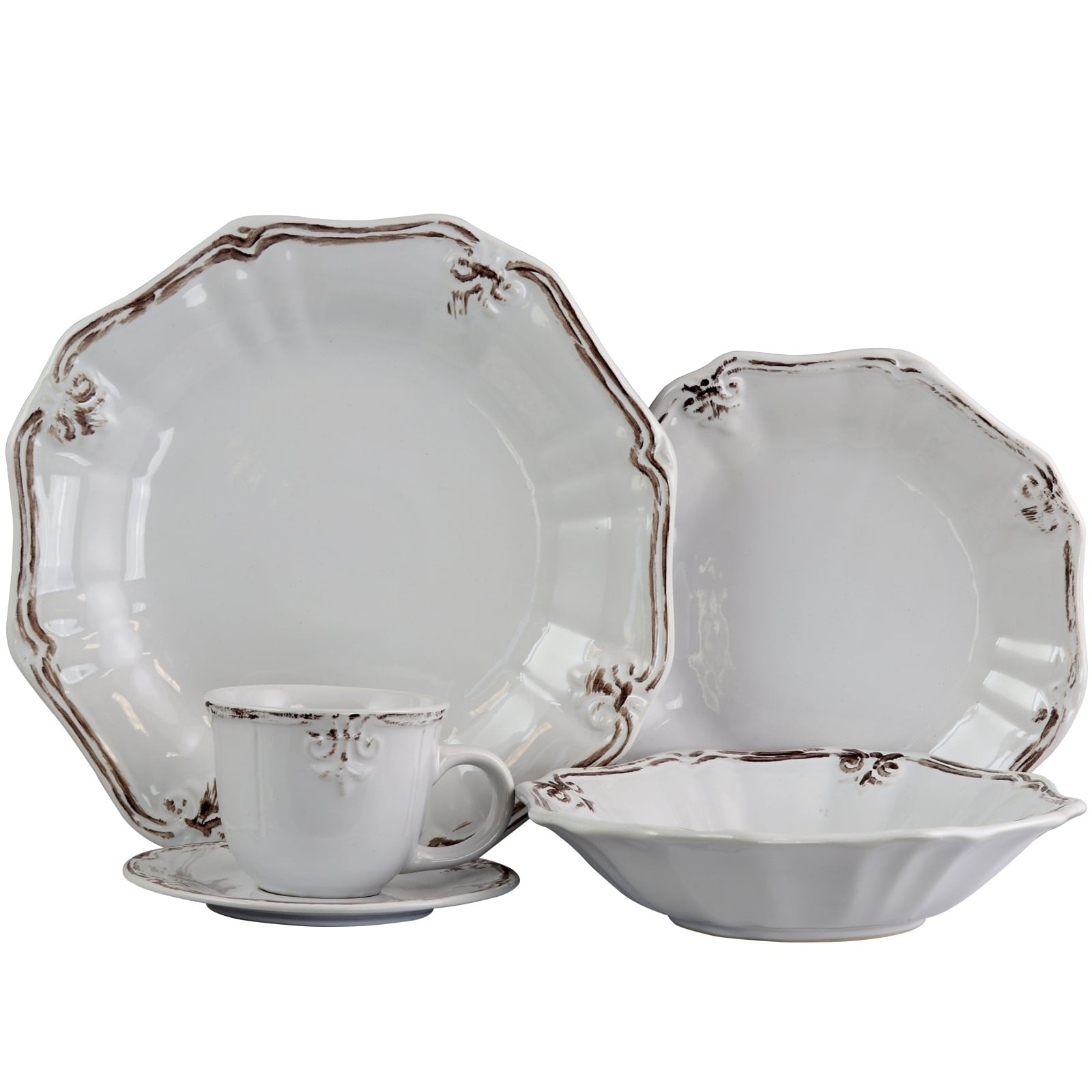Elama Fleur De Lys 20 Piece Dinnerware Set in White - Free Shipping Today - Overstock - 24264178  sc 1 st  Overstock.com & Elama Fleur De Lys 20 Piece Dinnerware Set in White - Free Shipping ...