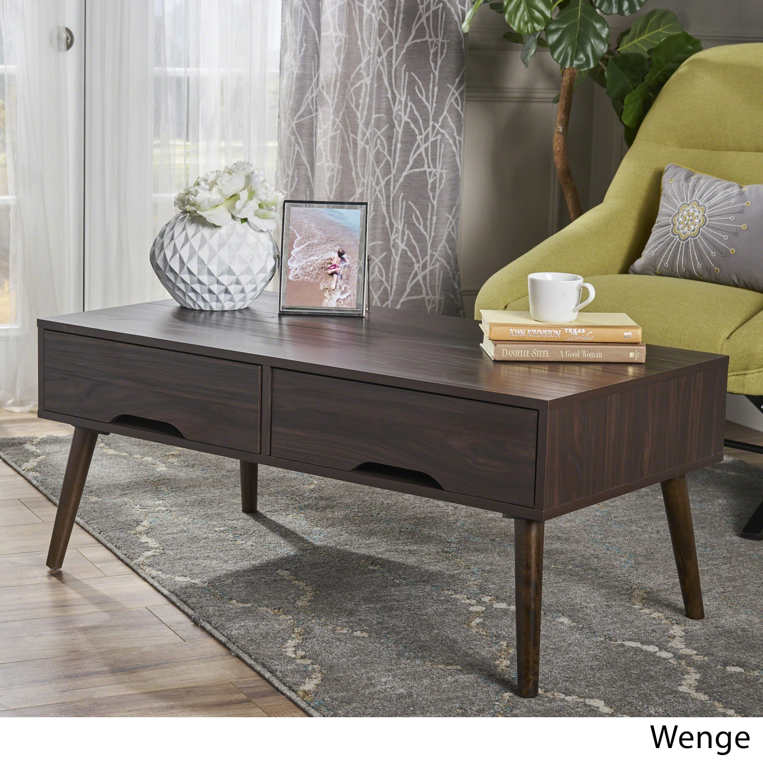 Noemi Mid Century Modern Rectangular Wood Coffee Table With Drawers By Christopher Knight Home On Free Shipping Today