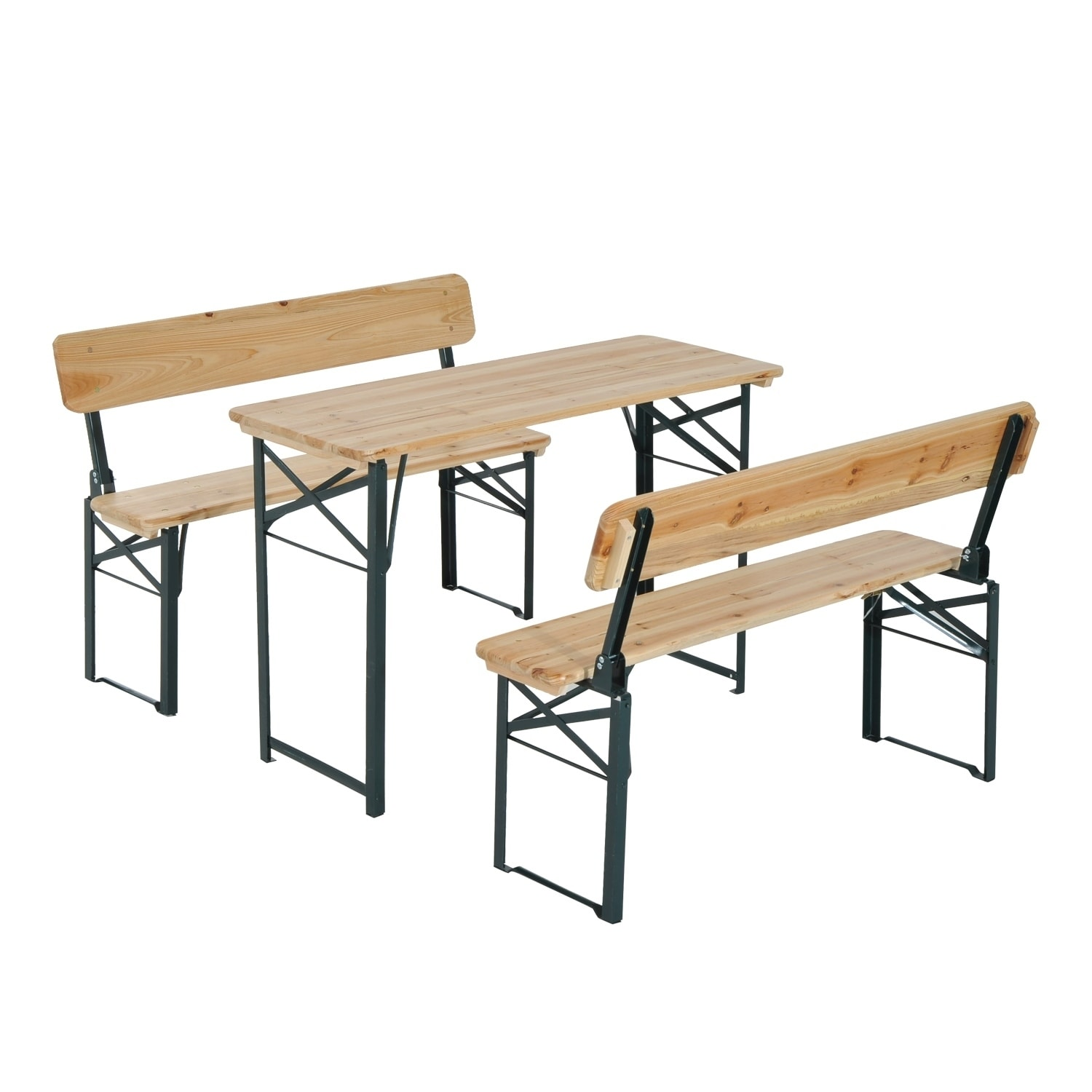 Outsunny 4u0027 Wooden Folding Picnic Table Set With Benches   Free Shipping  Today   Overstock   24265299