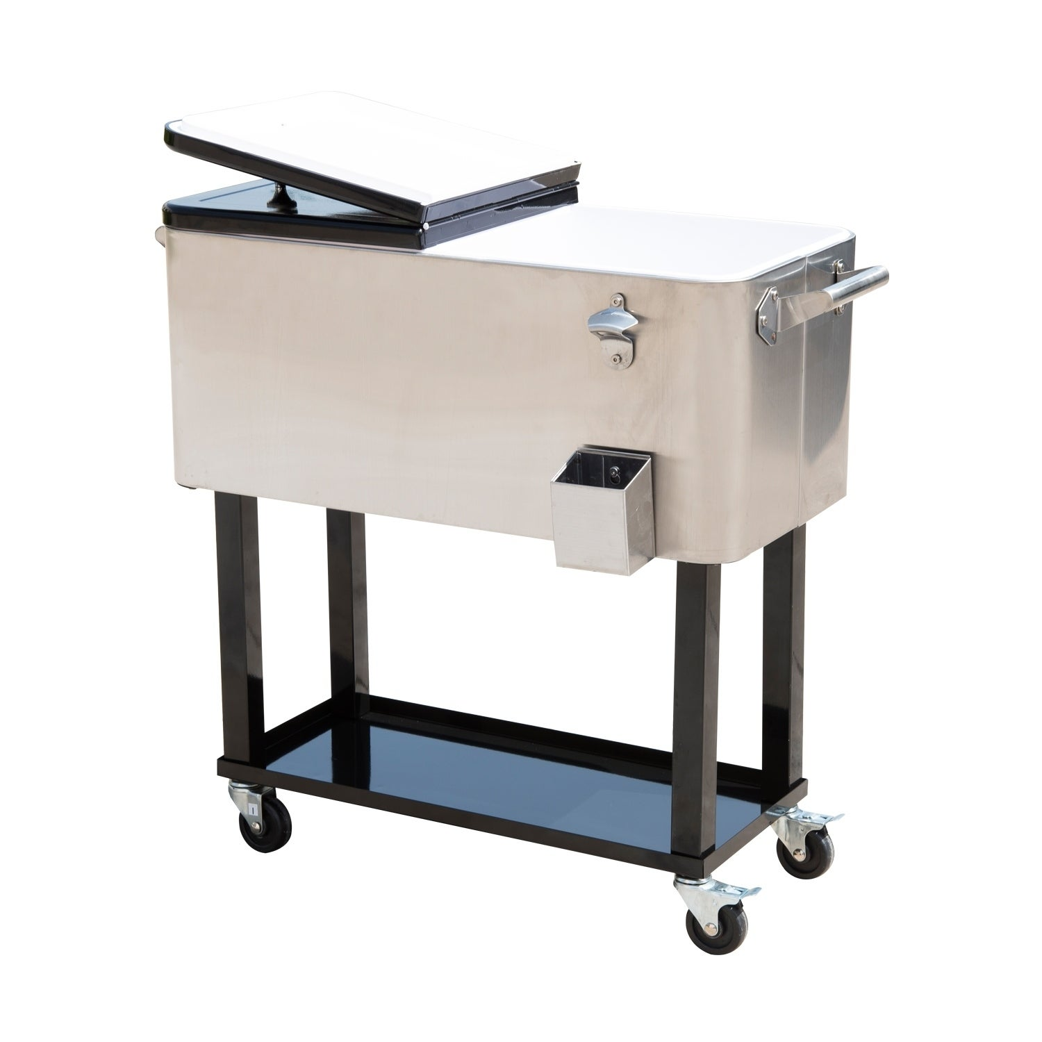 Shop Outsunny 80 QT Rolling Ice Chest Portable Patio Party Drink Cooler  Cart   Stainless Steel   On Sale   Free Shipping Today   Overstock.com    18109350