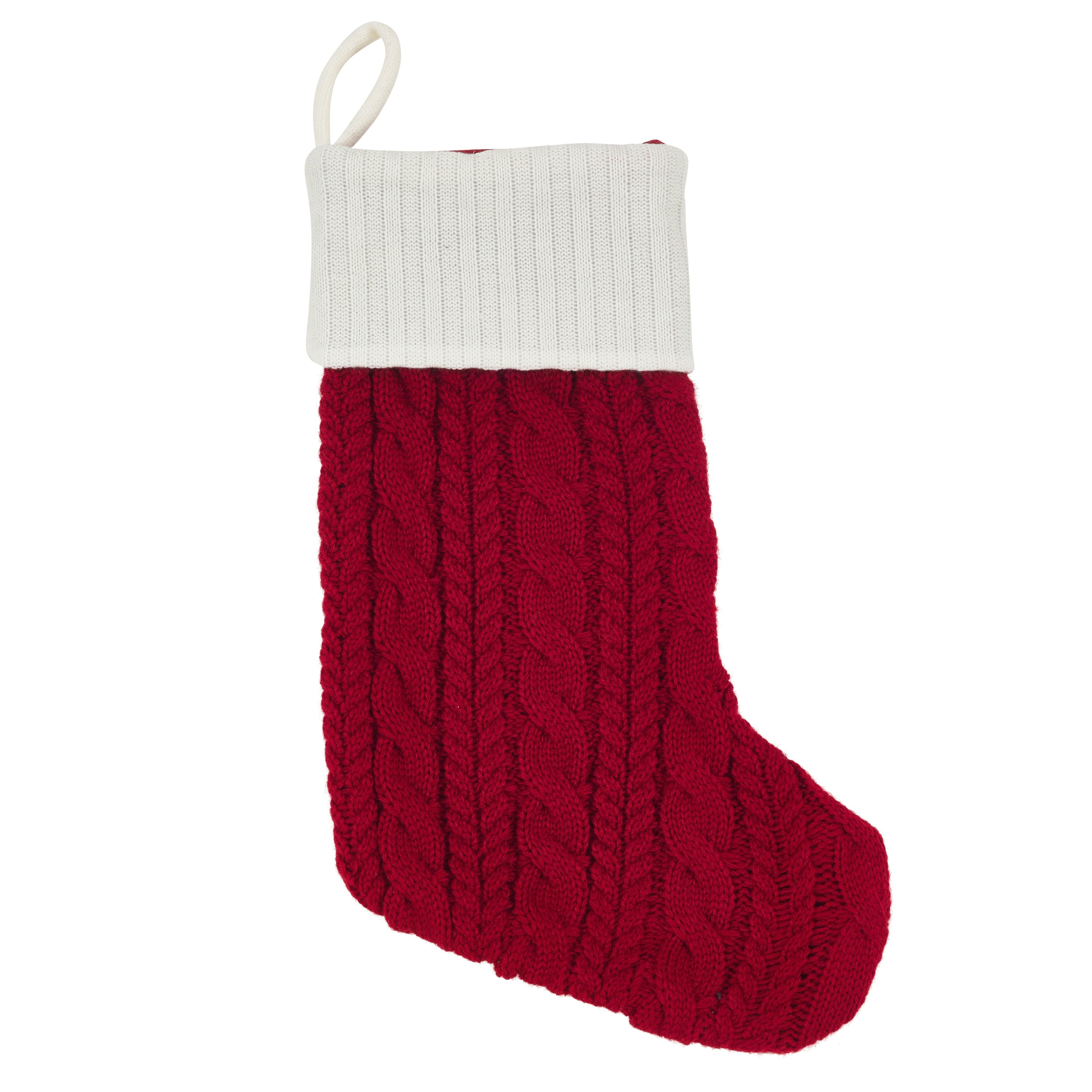 Shop Chunky Cable Knit Christmas Stocking - Free Shipping On Orders ...