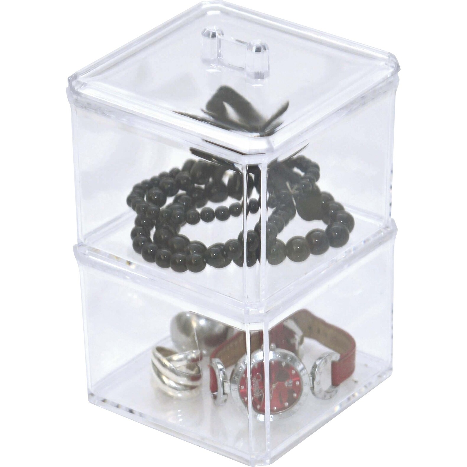 e3d83fb0a990 Evideco BOREAL Cosmetic Storage Display 2 Stacked Boxes with Cover Clear