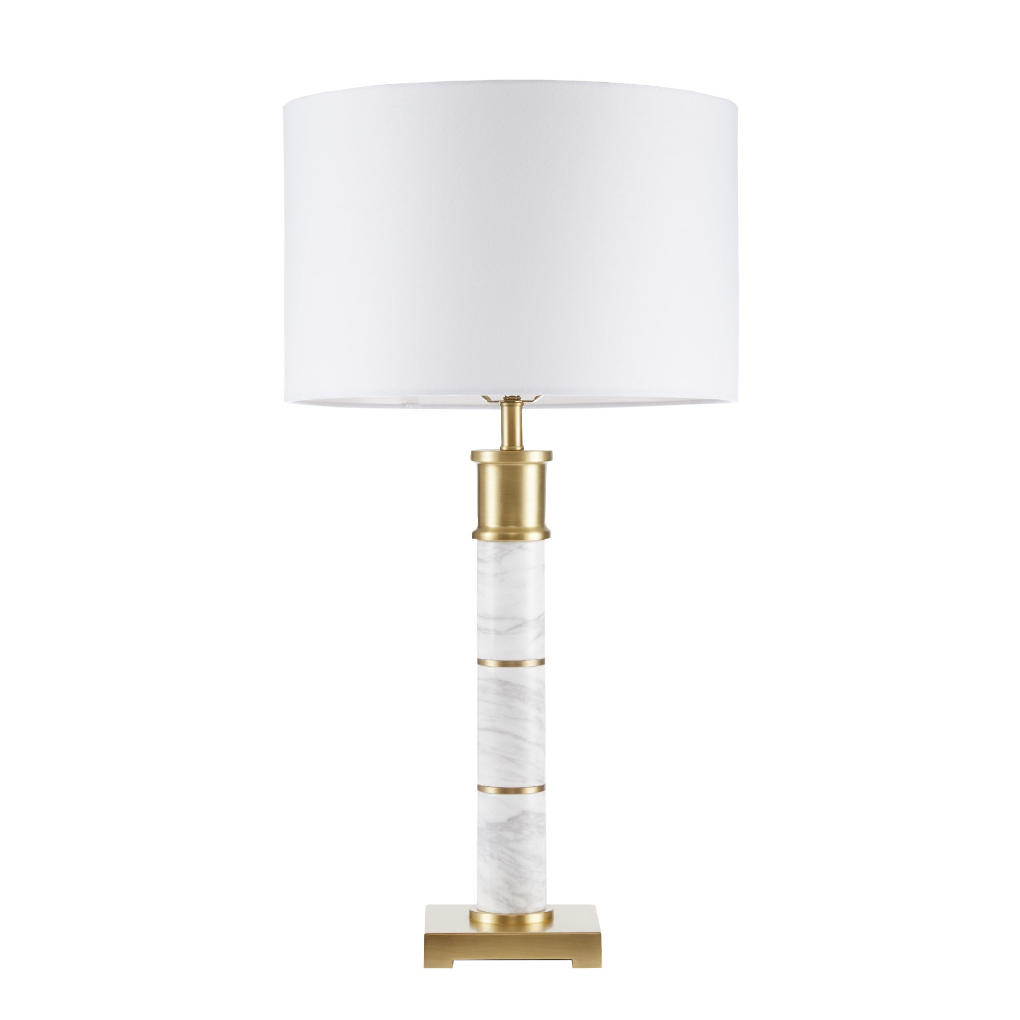 circle semi lamp pin white and gold table