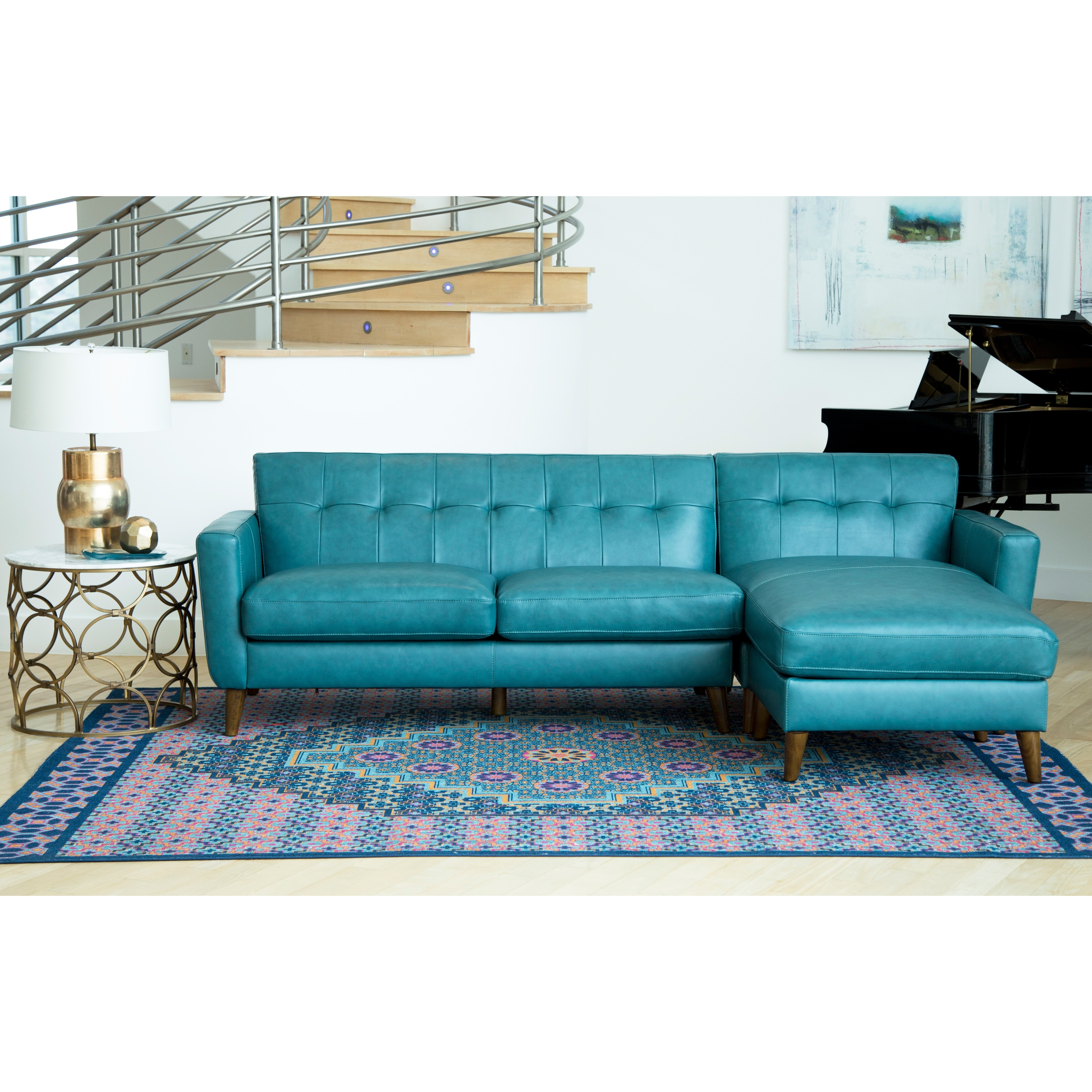 Merveilleux Shop Abbyson Nancy Ocean Blue Top Grain Leather Sectional Sofa   Free  Shipping Today   Overstock.com   18115433