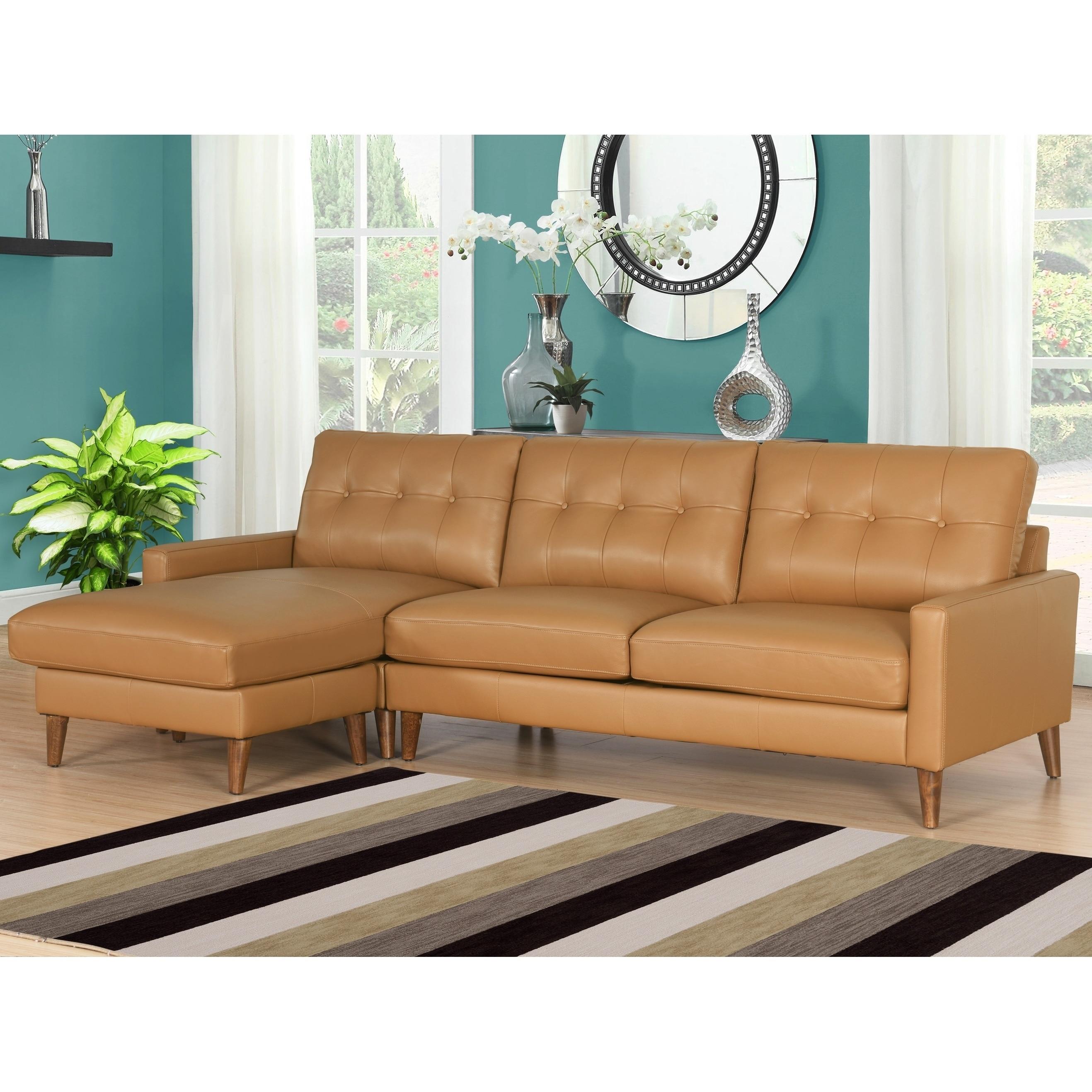 Abbyson Wright Mid Century Top Grain Leather Sectional Sofa Free  ~ Top Grain Leather Sofa Sectional