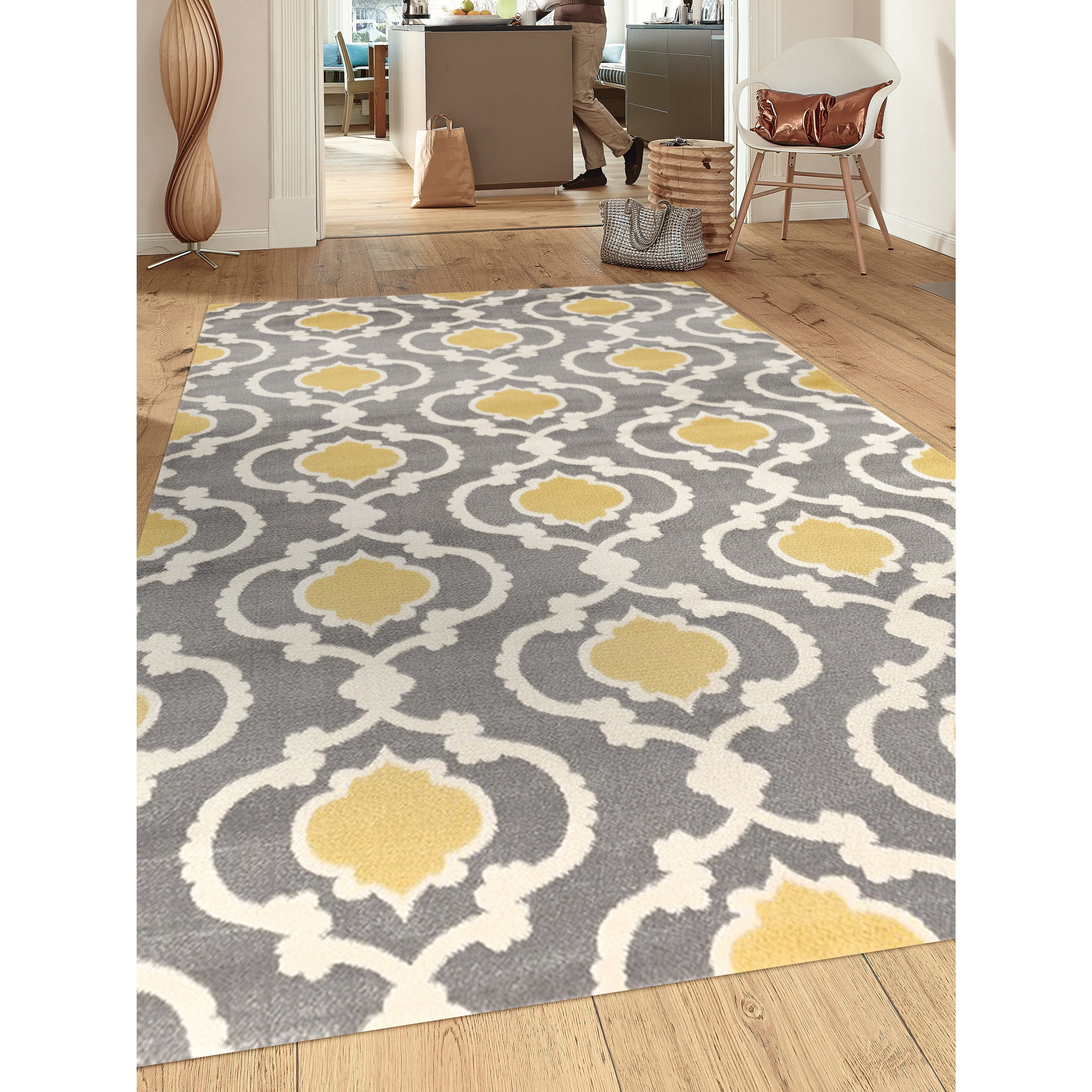 nida rugs tufted rug hand grey area pin yellow blue products and