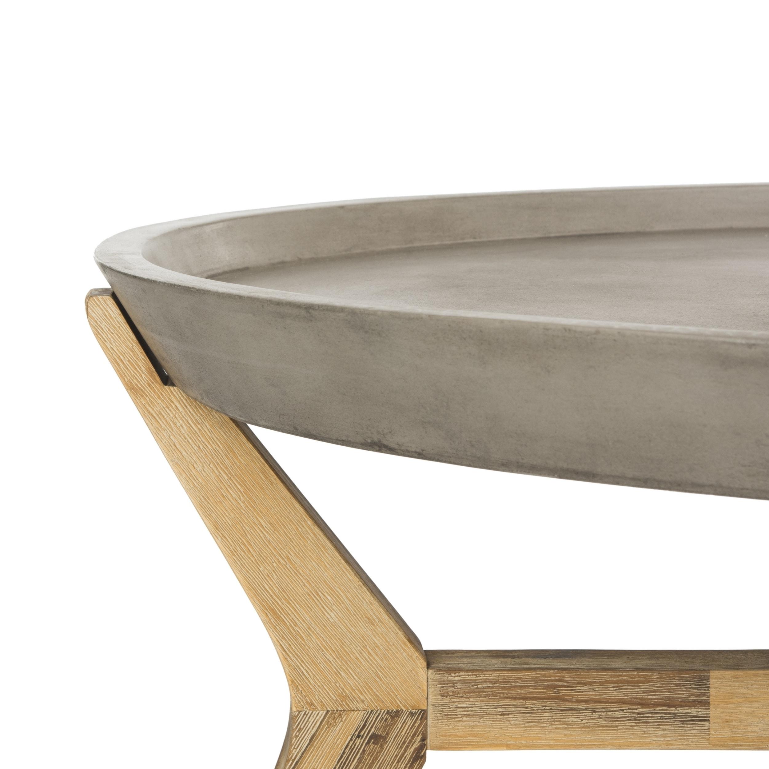 Shop Safavieh Outdoor Living Hadwin Modern Concrete Dark Grey Coffee - Oval concrete coffee table
