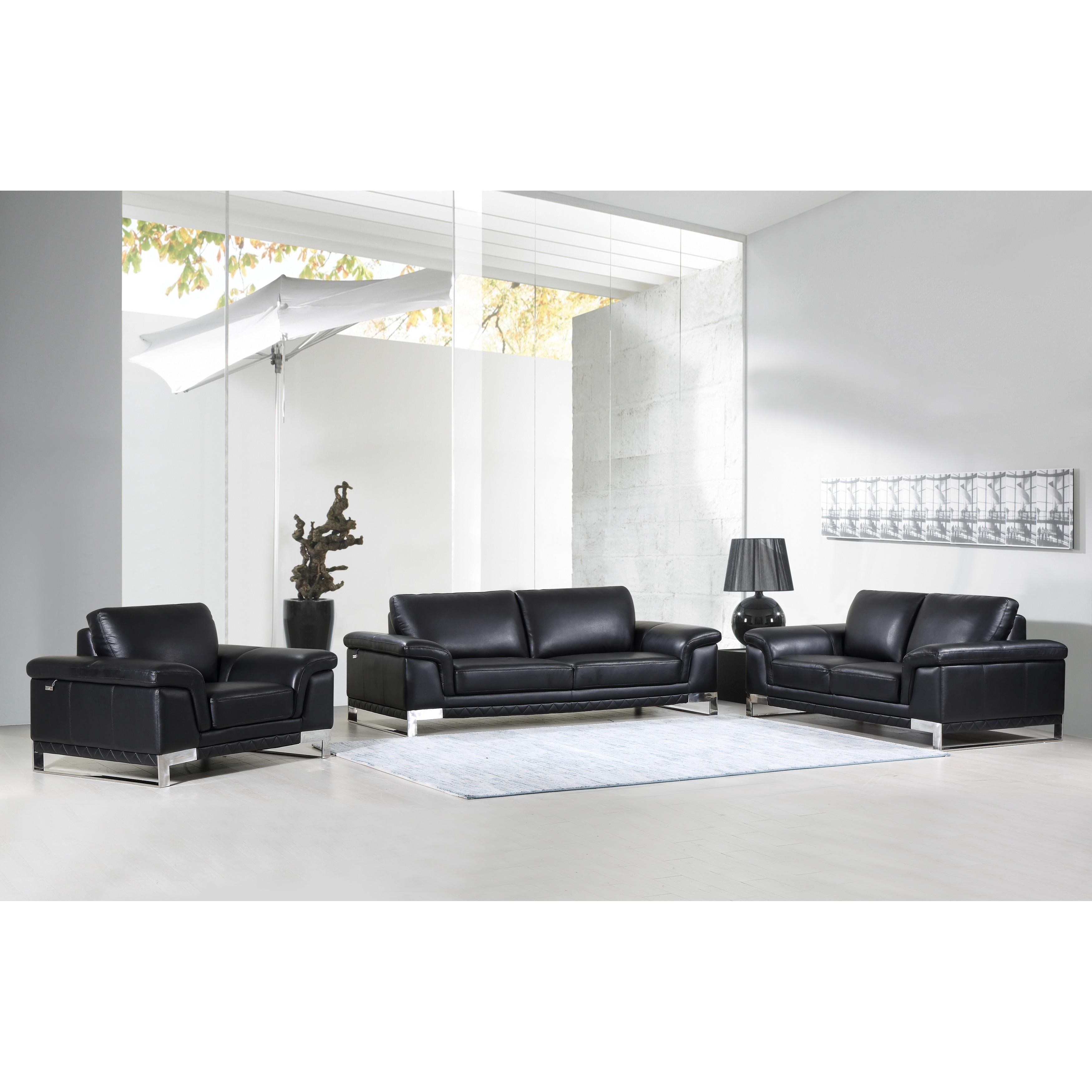 DivanItalia Arezzo Luxury Italian Leather Upholstered Complete 3 ...