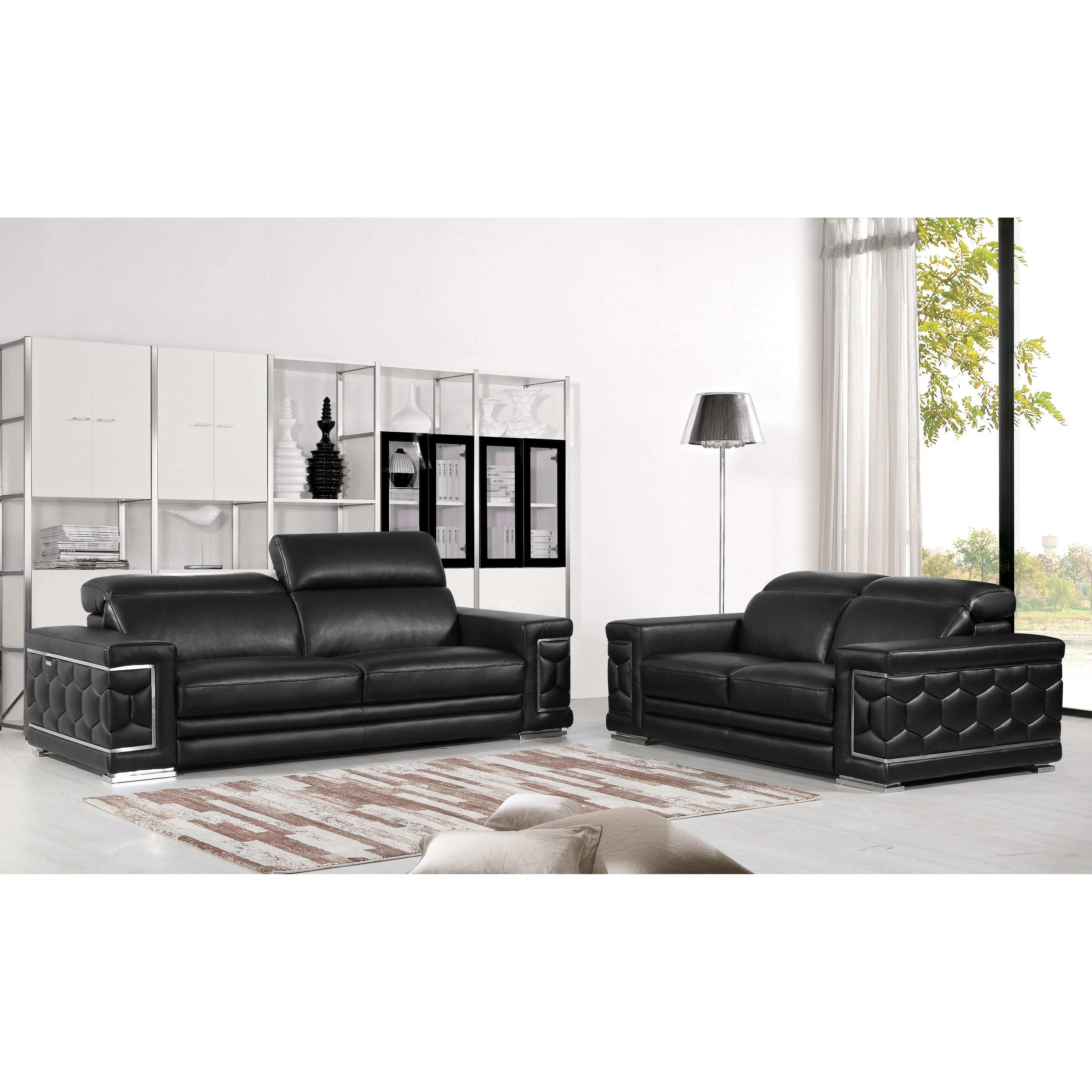 DivanItalia Ferrara Luxury Italian Leather Upholstered 2-Piece ...