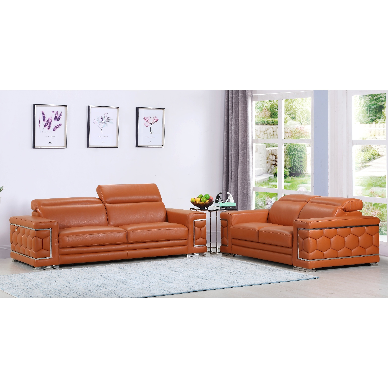 Shop DivanItalia Ferrara Luxury Italian Leather Upholstered 2-Piece ...