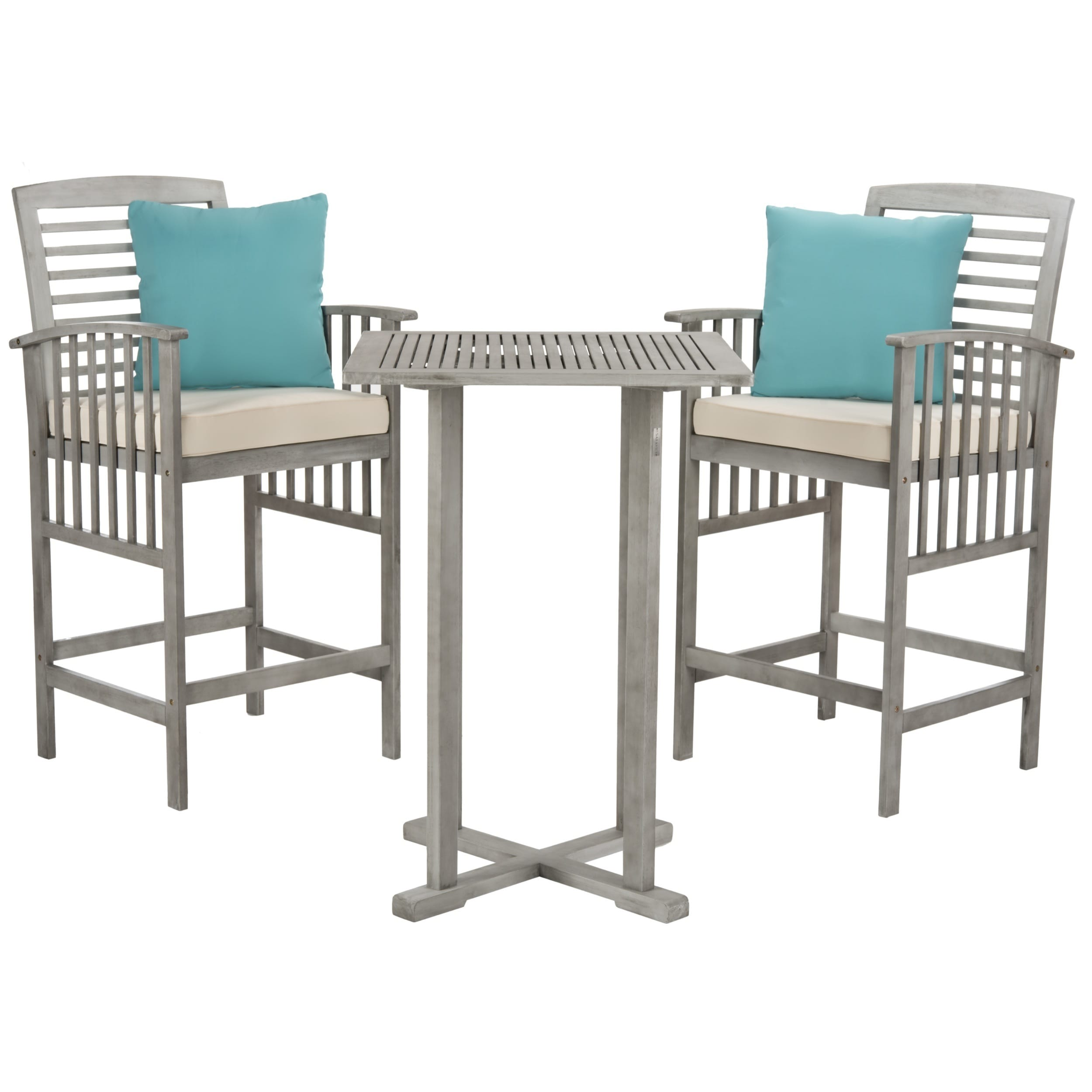 Shop Safavieh Outdoor Living Pate 3-Piece Grey Wash/ White Bar Table ...