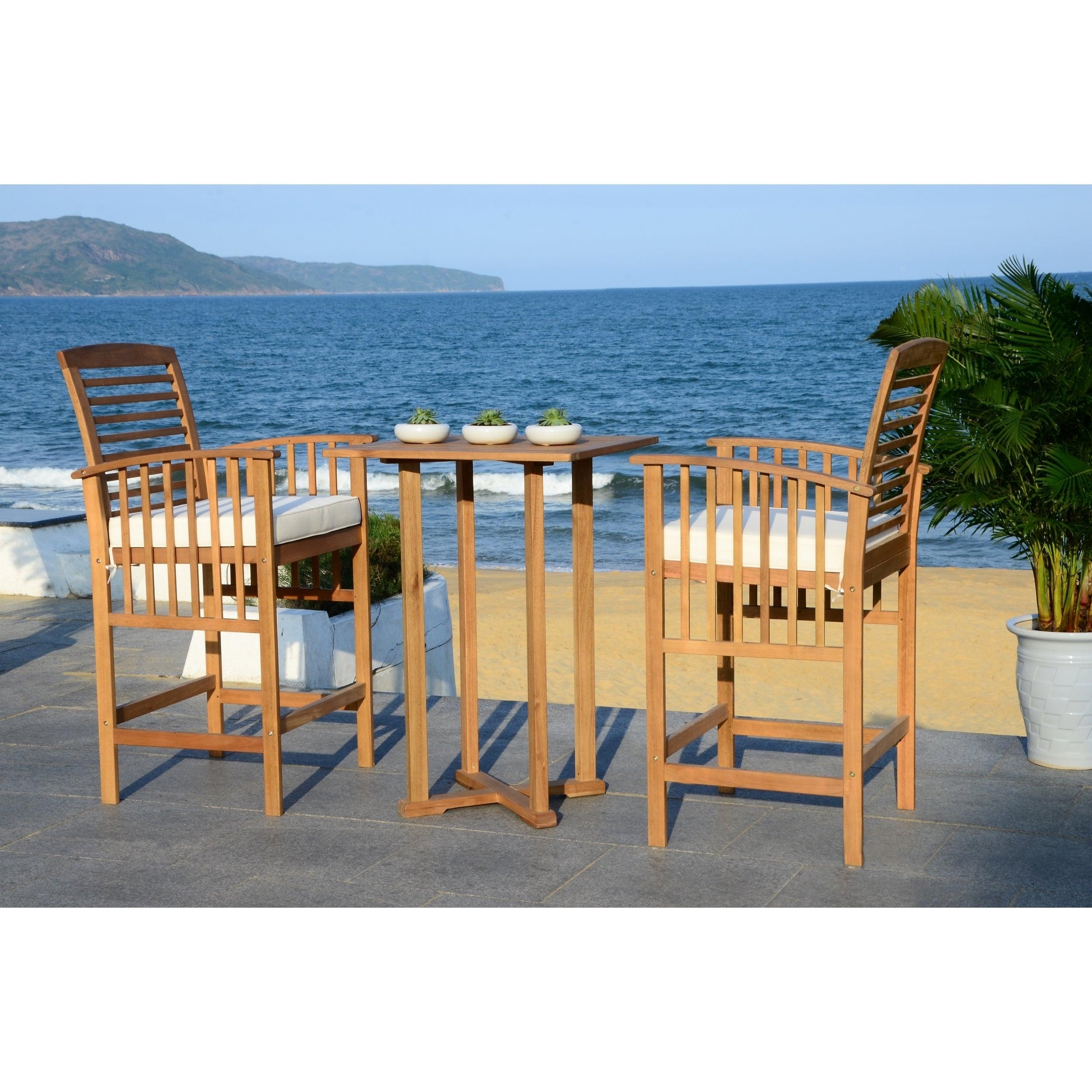 Safavieh Outdoor Living Pate 3-Piece White Bar Table Bistro Set ...