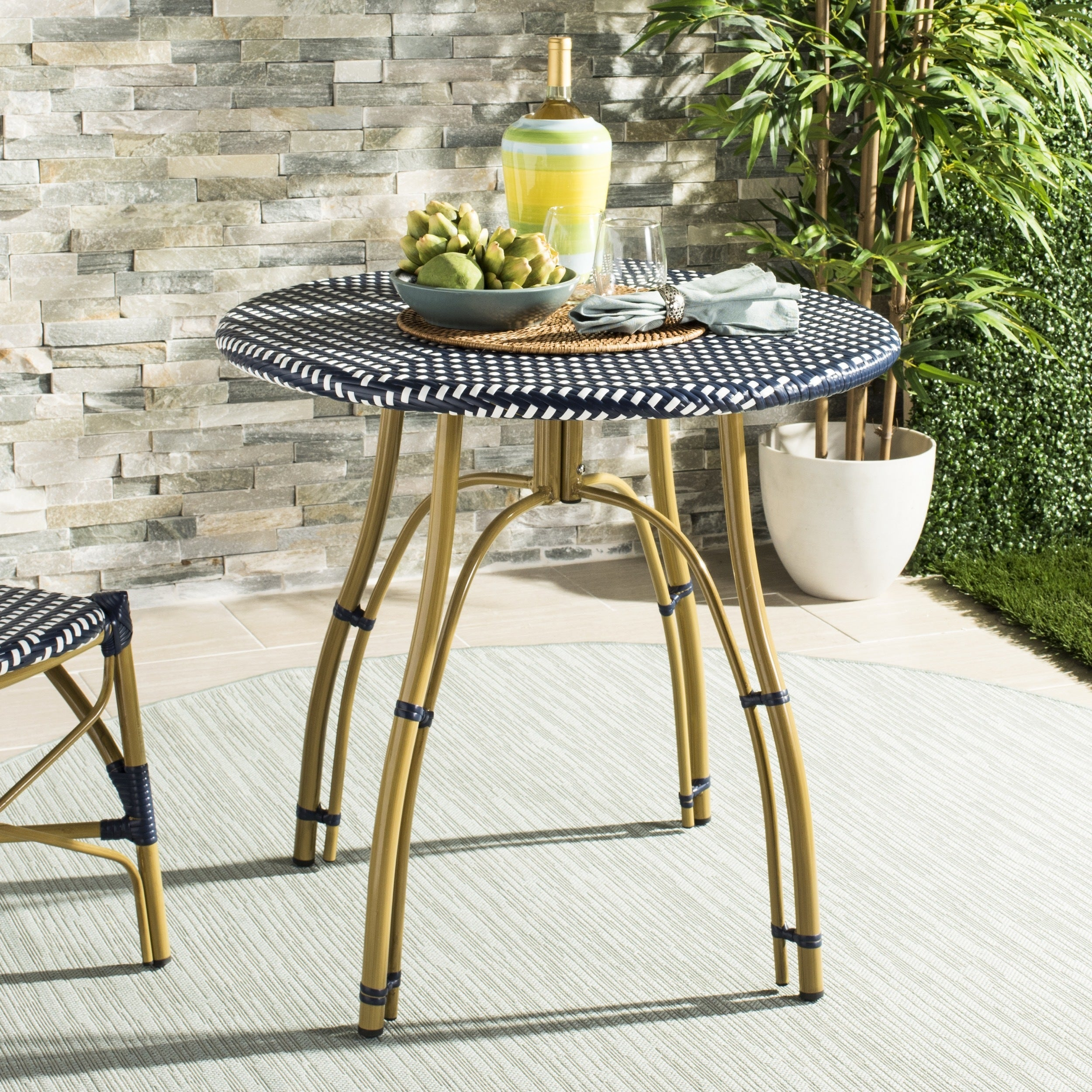 Safavieh Outdoor Living Kylie Navy White Rattan Bistro Table 31 5 X 30