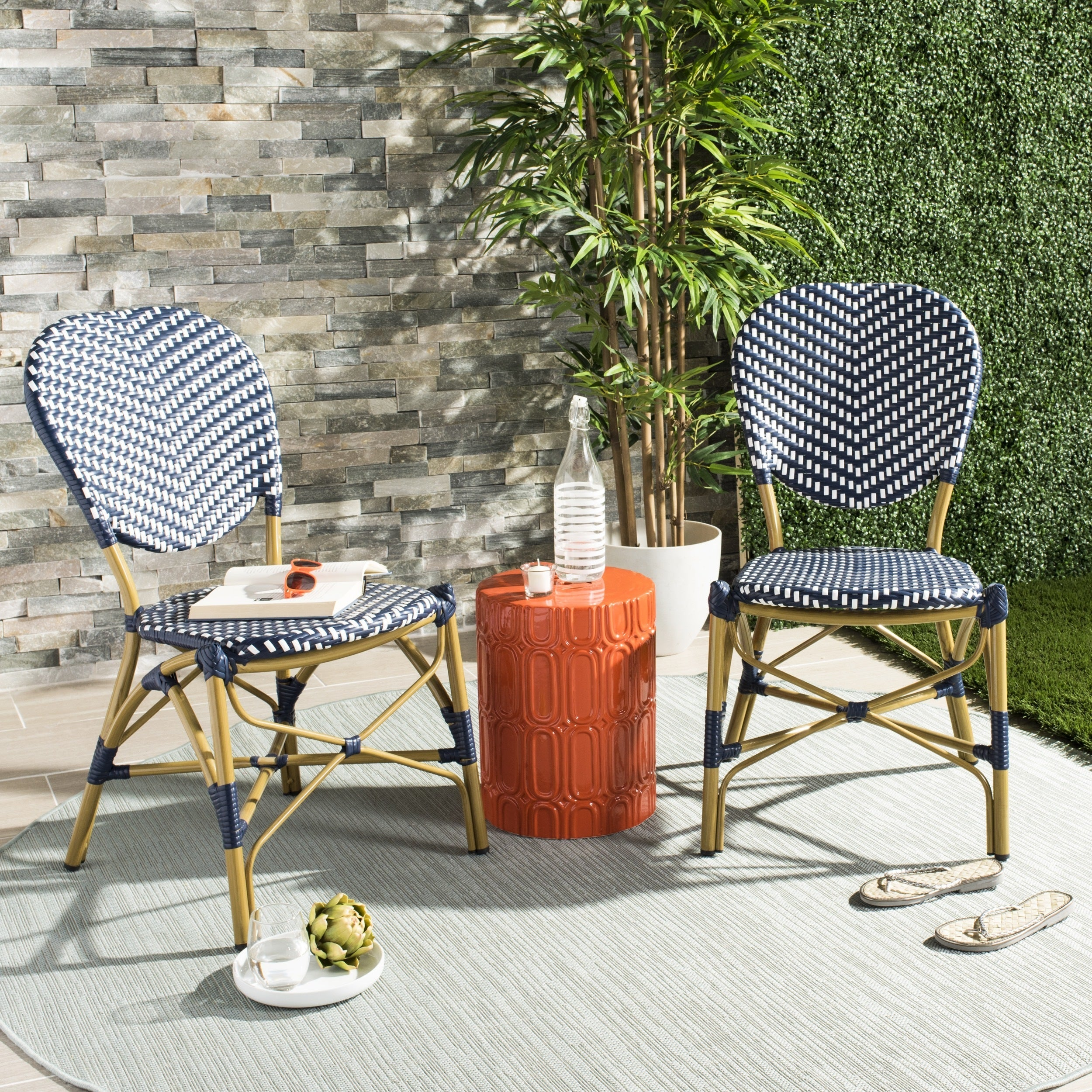 Safavieh Lisbeth French Bistro Stacking Navy White Side Chair Set Of 2