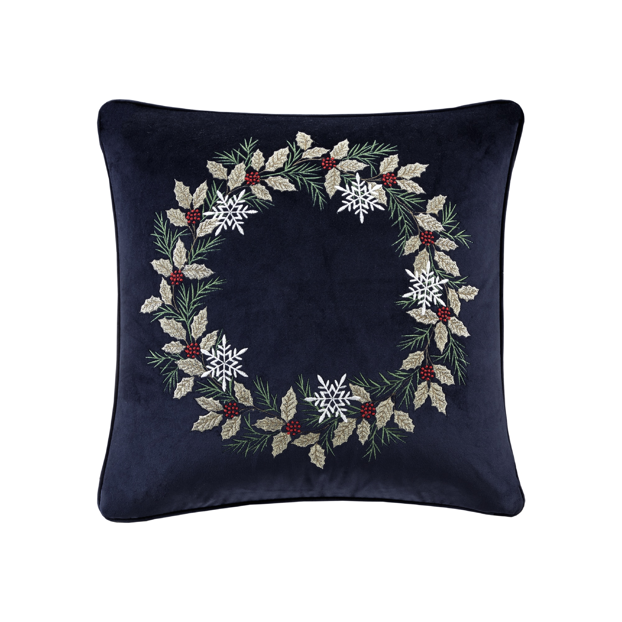 Madison Park Holiday Wreath Navy 20-inch Square Embroidered Decorative Throw  Pillow - Free Shipping On Orders Over $45 - Overstock.com - 24272887