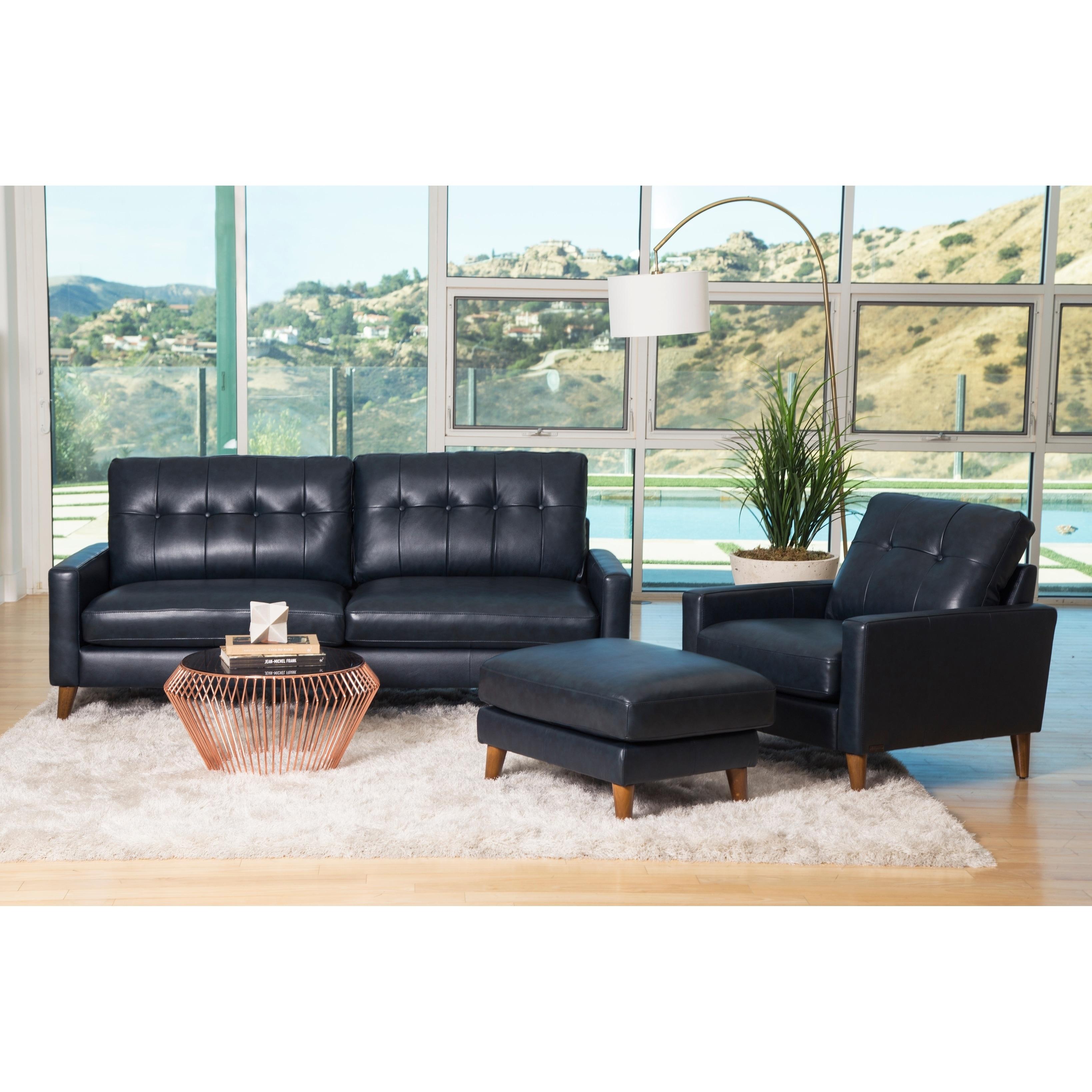Abbyson Wright Mid Century Top Grain Leather 3 Piece Living Room ...
