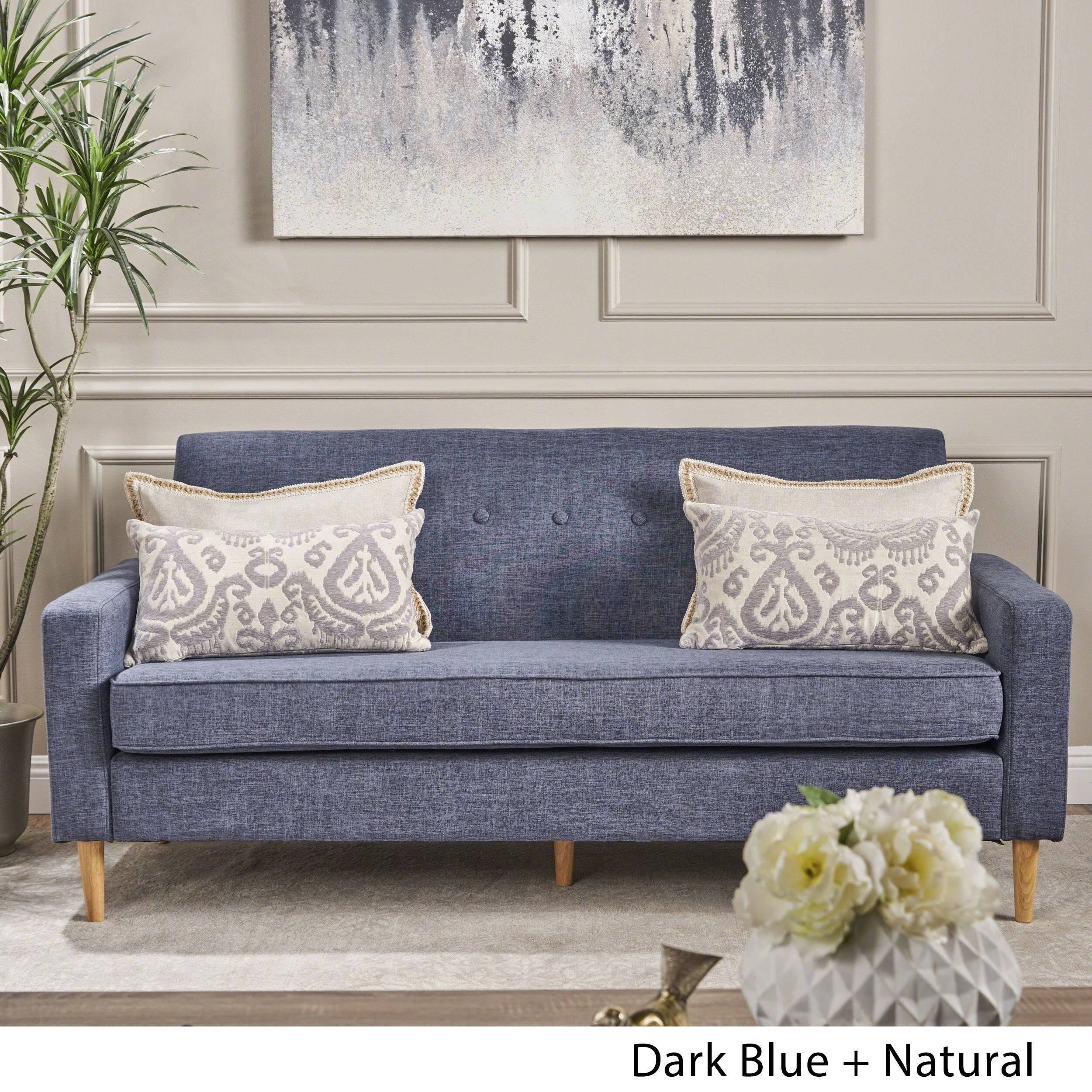 Sawyer Mid-century Modern 3-seater Fabric Sofa by Christopher Knight Home