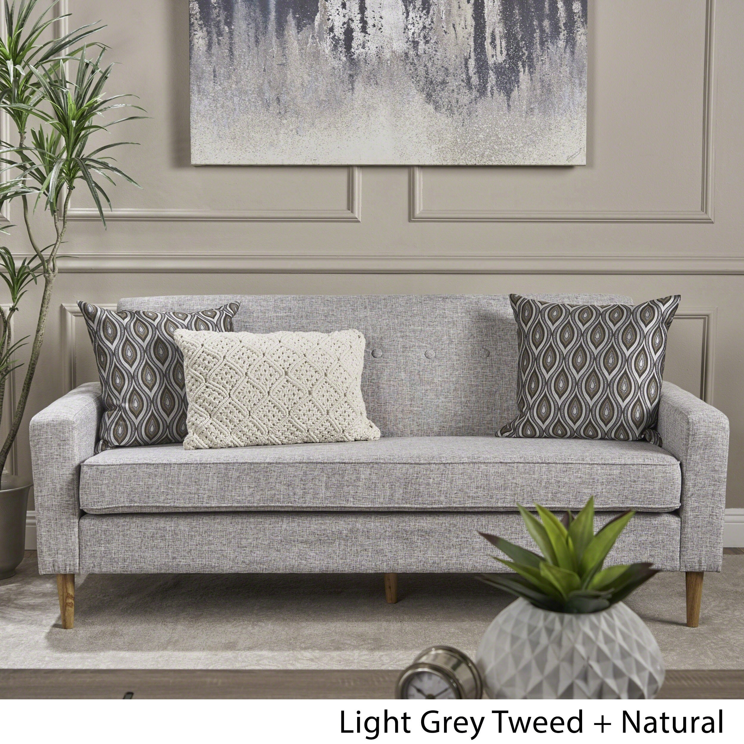 Shop Sawyer Mid Century Modern 3 Seater Fabric Sofa By Christopher Knight  Home   Free Shipping Today   Overstock.com   18122434