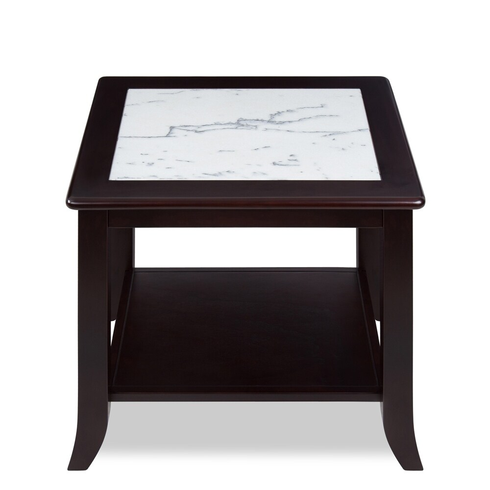 Shop Sleeplanner White Natural Marble Top Espresso Solid Wood End