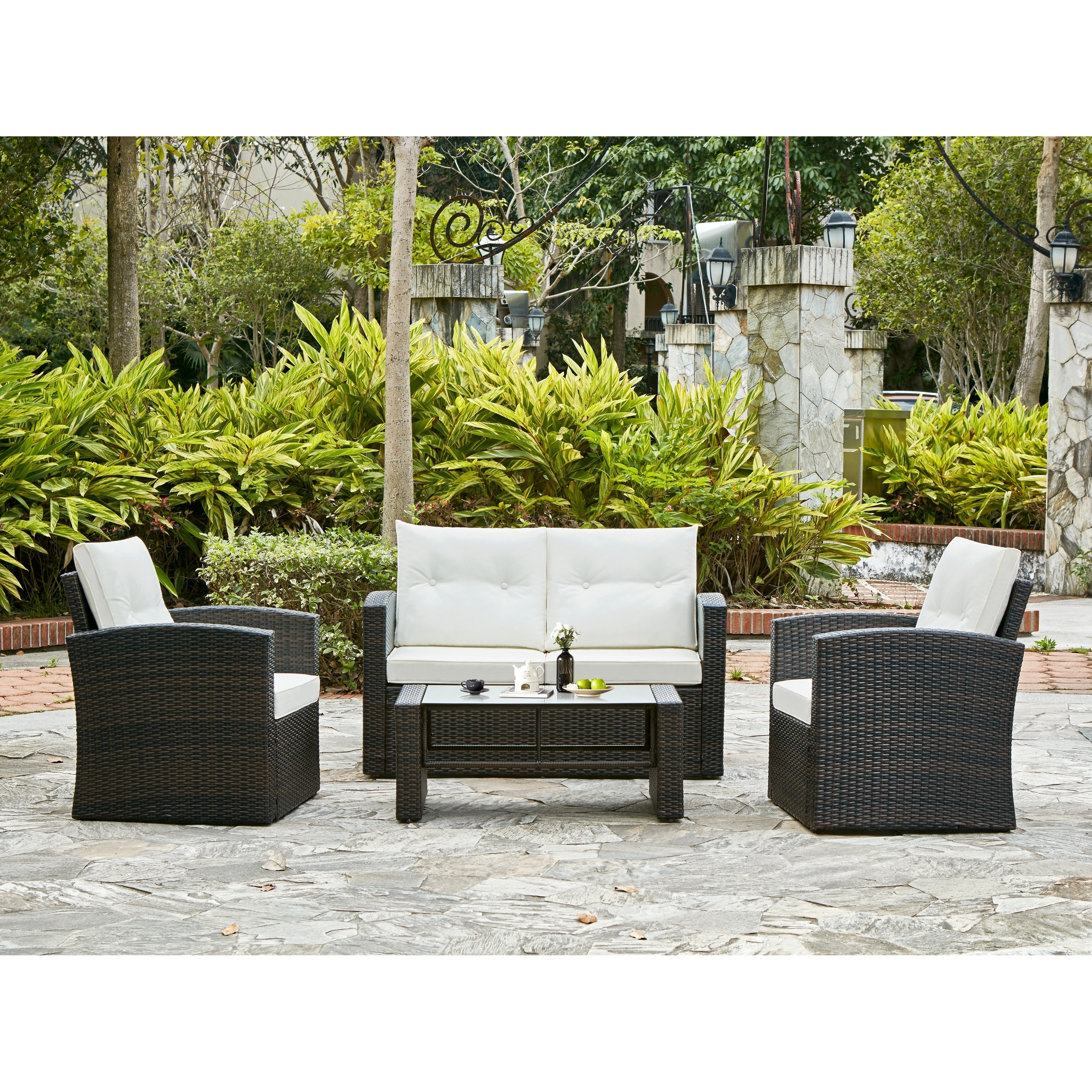 Shop Iris 4 Piece Outdoor Conversation Set   On Sale   Free Shipping Today    Overstock.com   18124971